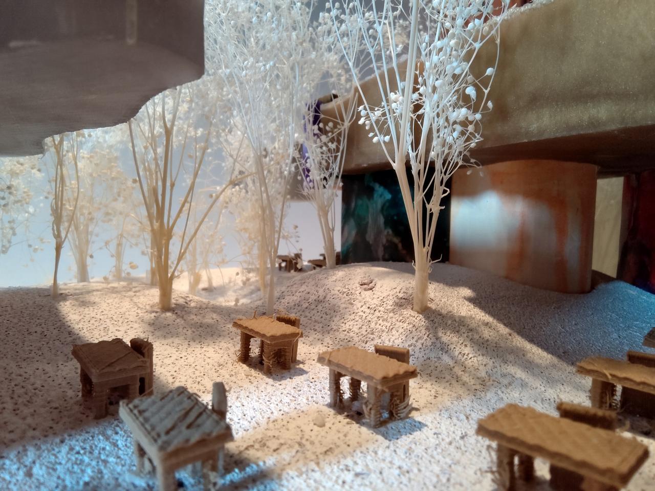 Interior design, Furniture, Branch, Decoration, Tree, Table, Lighting, Wood, Plant, Building