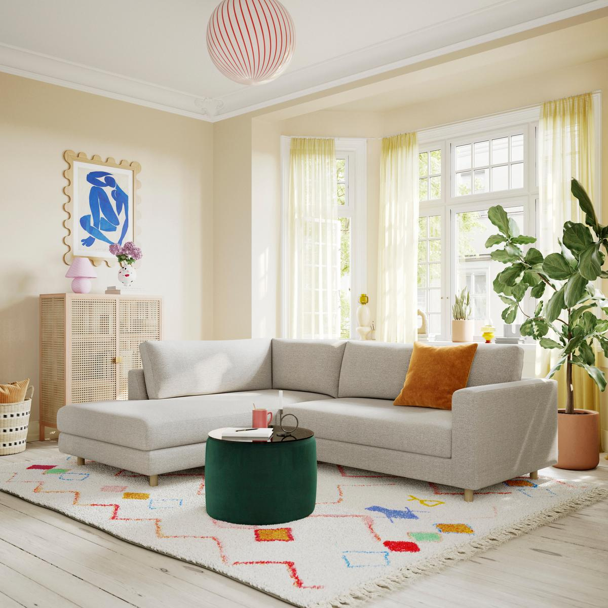 Interior design, Living room, Brown, Couch, Property, Furniture, Plant, White, Wood, Lighting