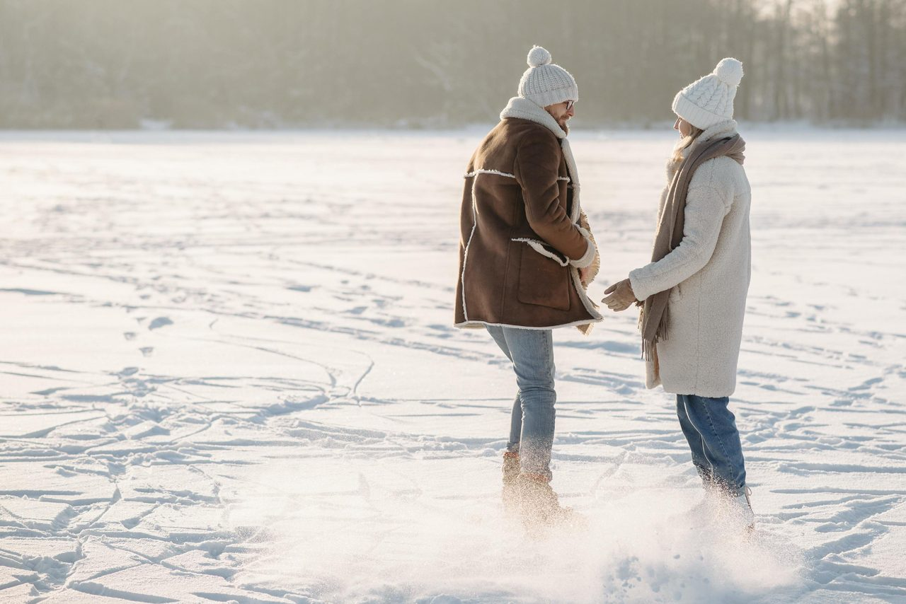 People in nature, Jeans, Snow, Standing, Happy, Gesture, Sunlight, Hat, Freezing