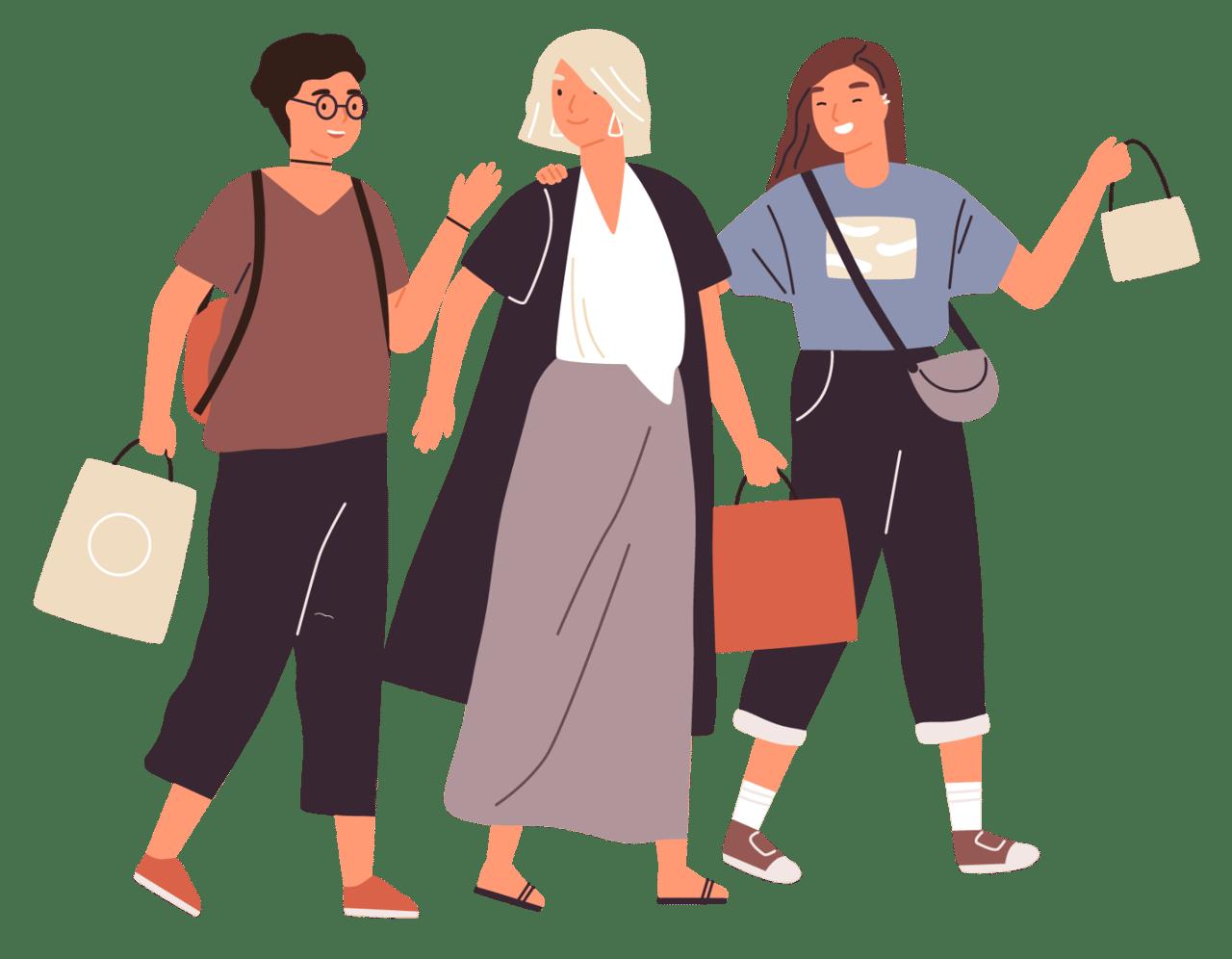 Freundinnen auf der Buchmesse fr den Lese-Herbst