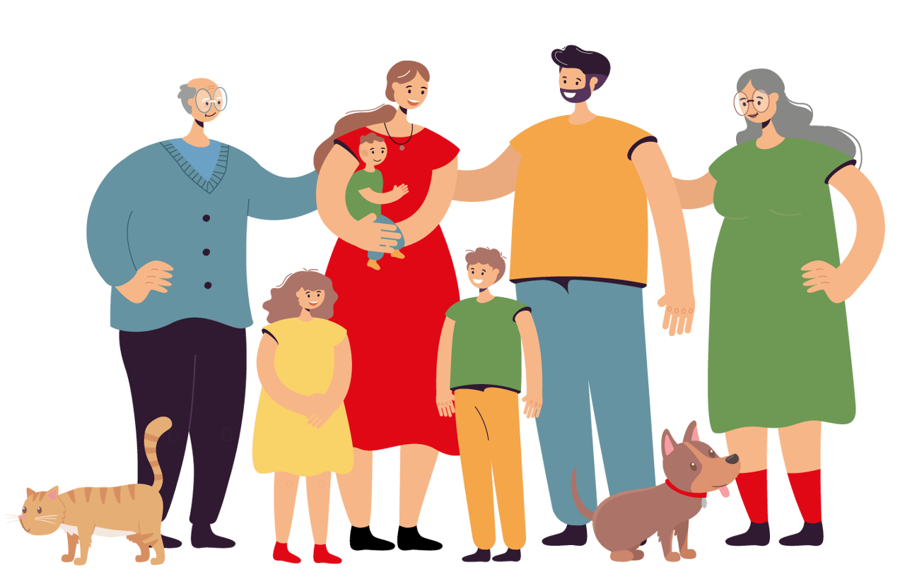 Family taking photos together, People in nature, Facial expression, Human body, Vertebrate, Dog, Sharing, Sleeve, Standing