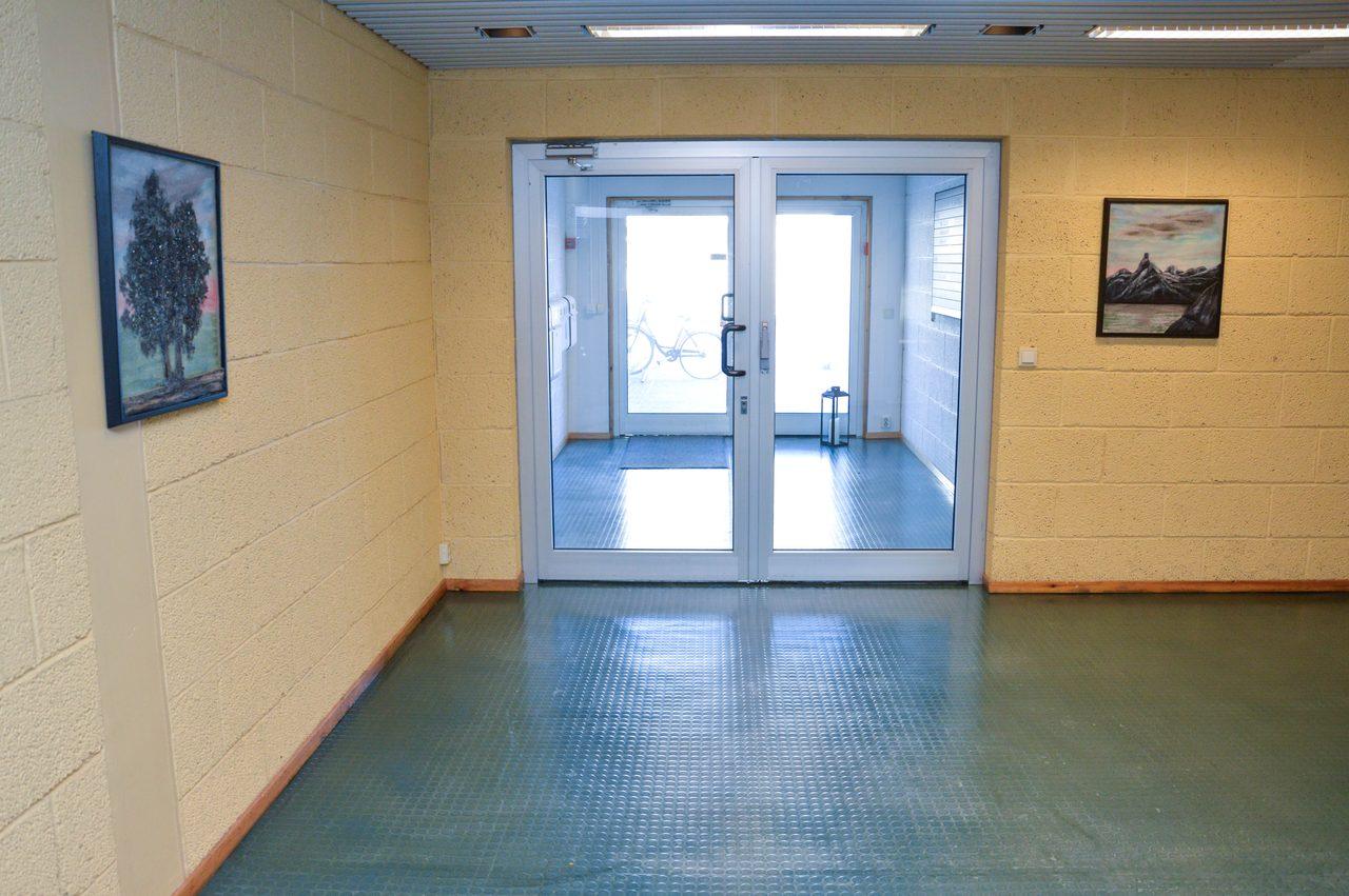 Picture frame, Interior design, Property, Door, Azure, Fixture, Hall, Wood, Flooring, Floor