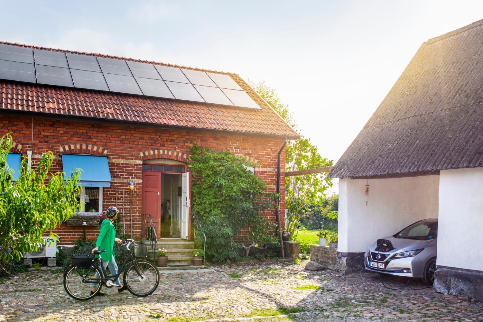 Tire, Sky, Wheel, Plant, Bicycle, Building, Car, Window, Vehicle, Green