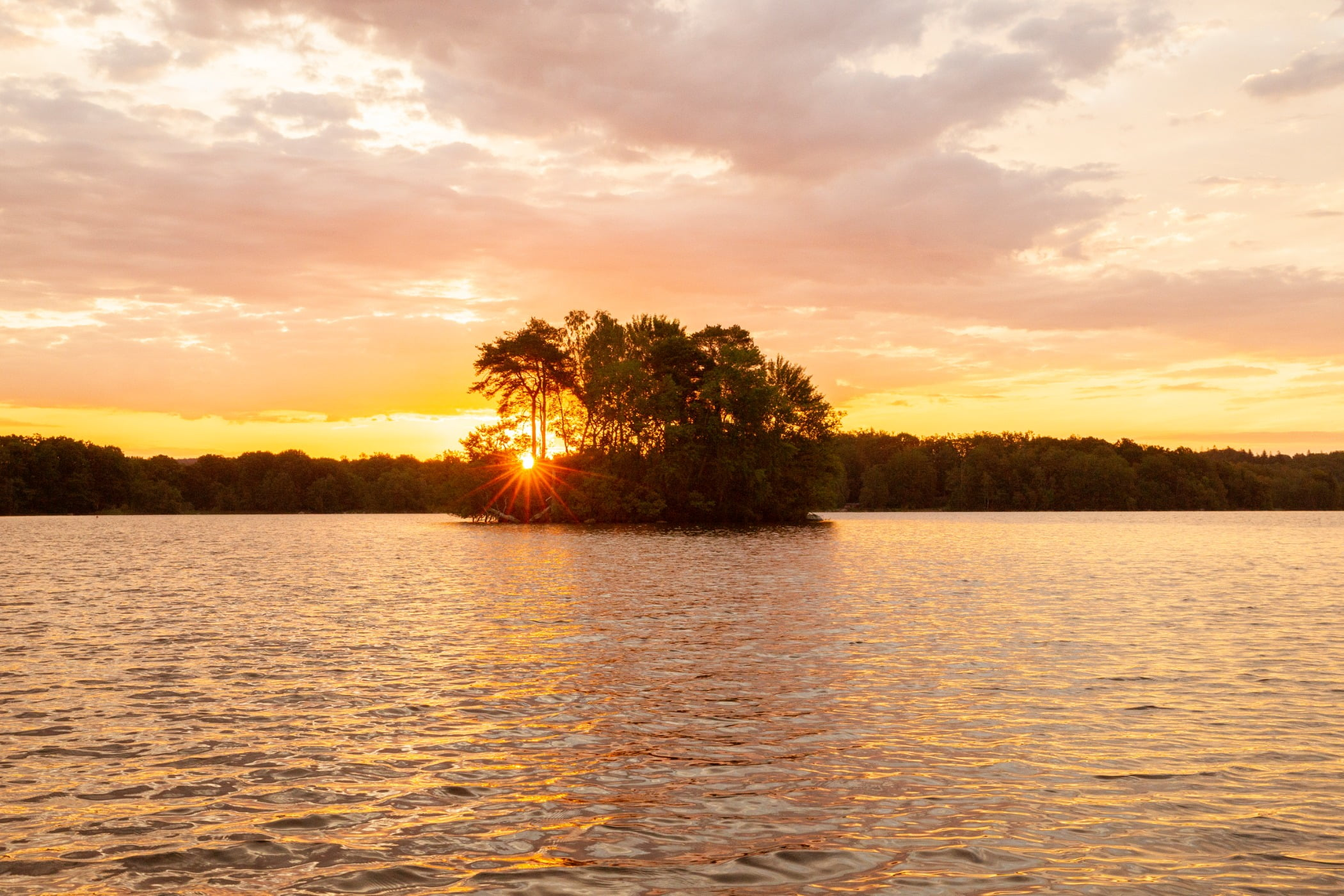 Red sky at morning, Water resources, Natural landscape, Cloud, Afterglow, Lake, Tree, Orange