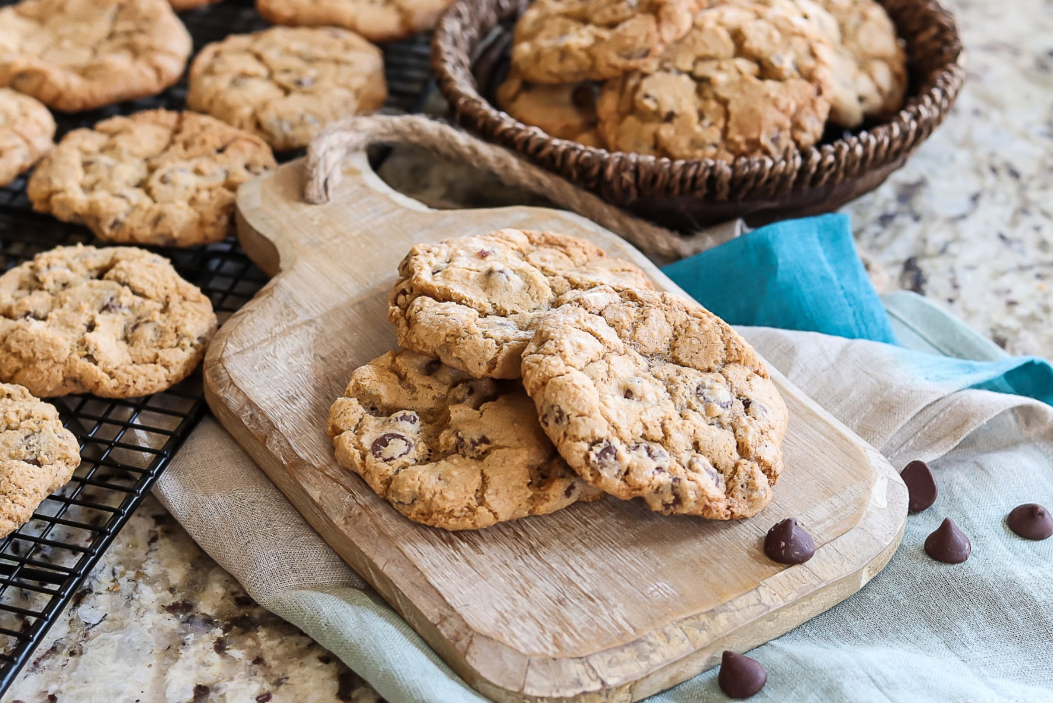 Cookies, Baked goods, Chocolate chips, Serving board, Recipe, Cuisine, Confectionery, Snack, Ingredient, Dessert