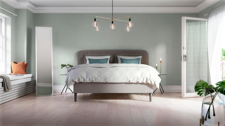Interior design, Bed frame, Furniture, Building, Comfort, Green, Wood, House, Flooring, Shade