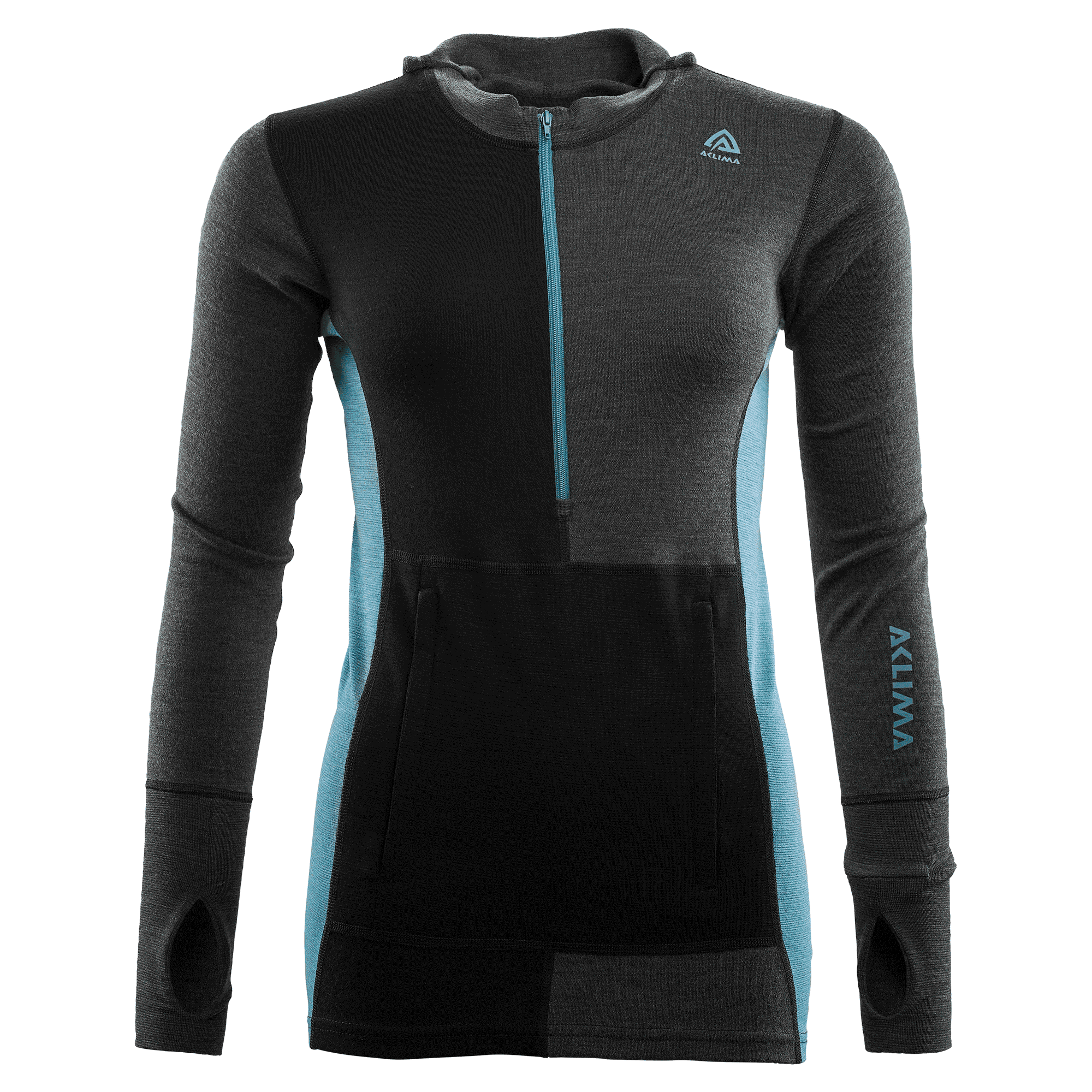 Long-sleeved t-shirt, Neck, Outerwear, Jersey, Turquoise, Black, Sleeve, Clothing