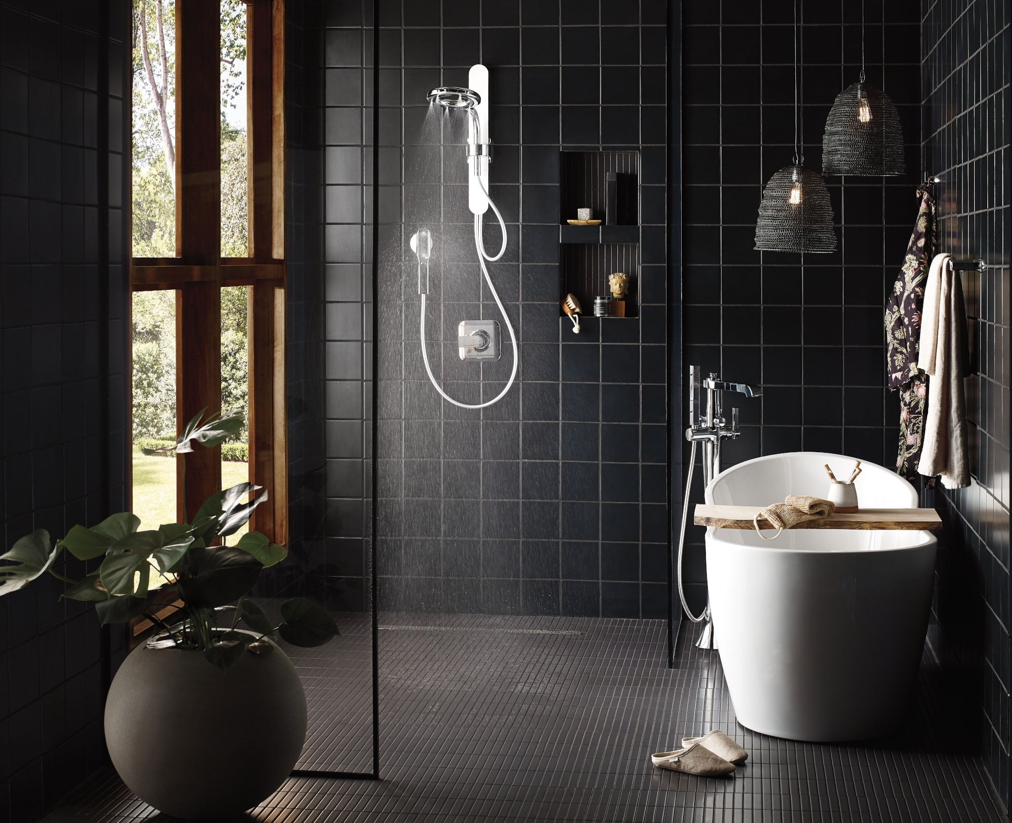 Moen Nebia Spa Shower Dark Bath Design 1