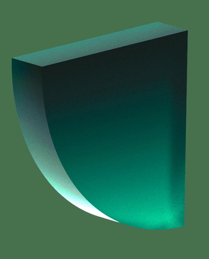 Half circle, 3d, dark green