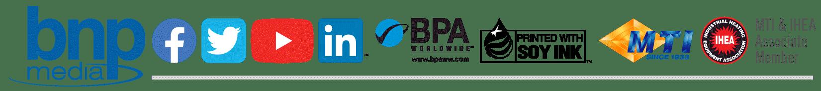 BNP Media, Facebook, Twitter, YouTube, LinkedIN, BPA, MTI, IHEA Logos
