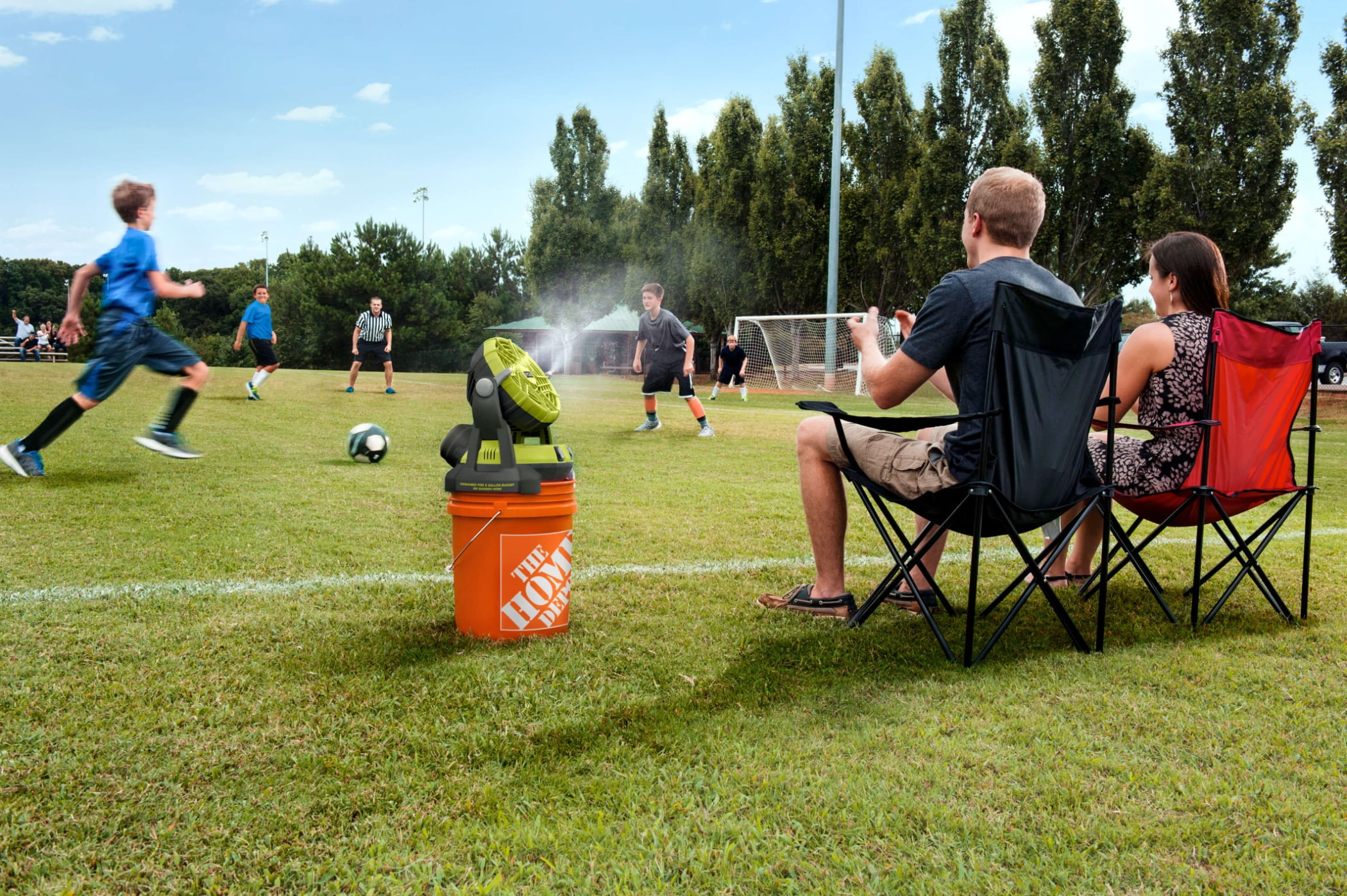 Sports equipment, Sky, Plant, Vertebrate, Cloud, Tree, Football, Water, Grass, Chair