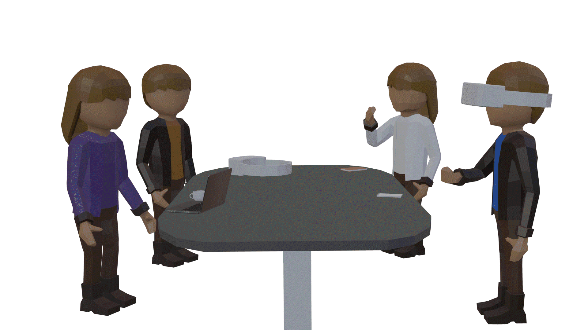Table, Furniture, Product, Sharing, Standing, Gesture, Interaction, Comfort, People, Cartoon