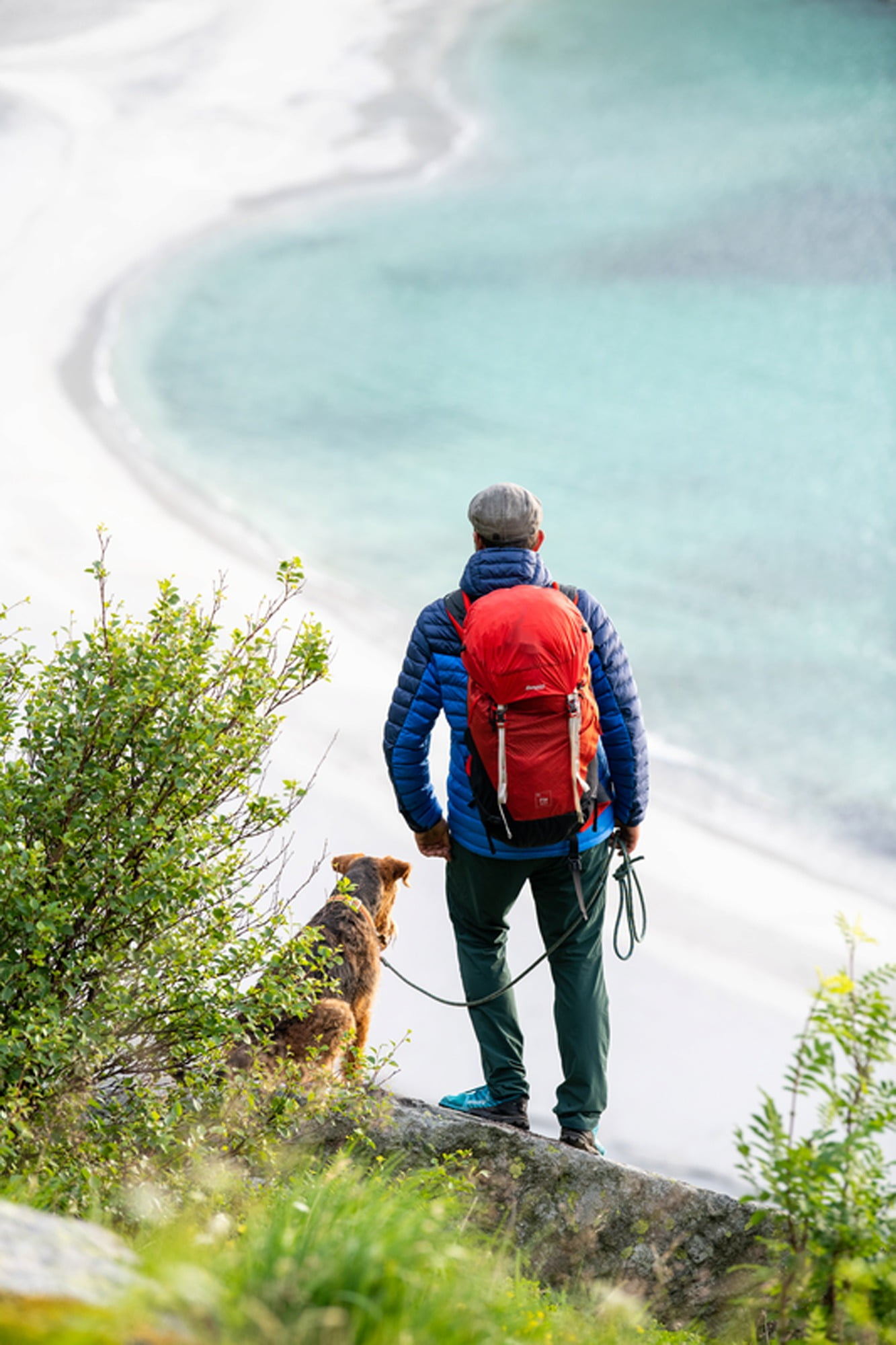 People in nature, Luggage and bags, Body of water, Plant, Dog, Carnivore, Bag, Grass, Backpack
