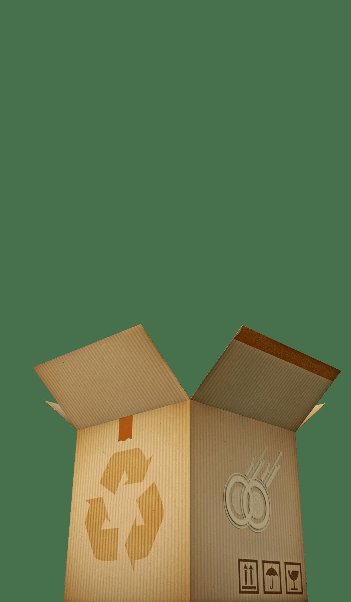 Cardboard box with recycling logo
