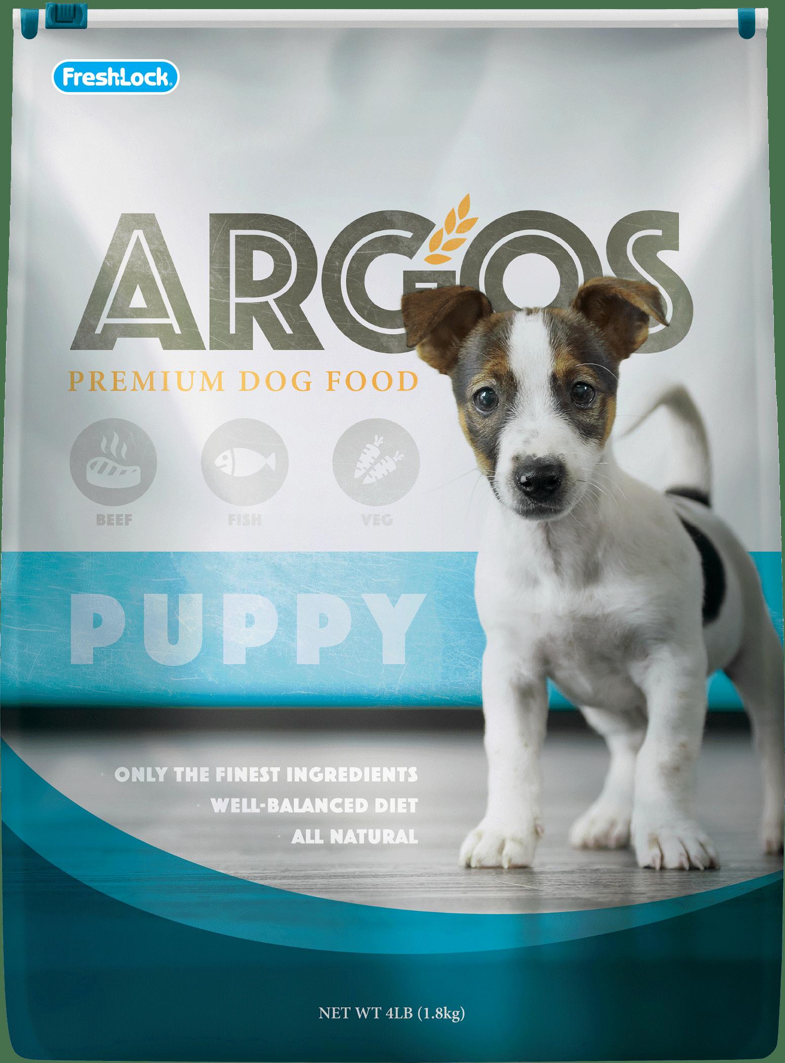 Flexographic and digital printing on a Argos dog food bag