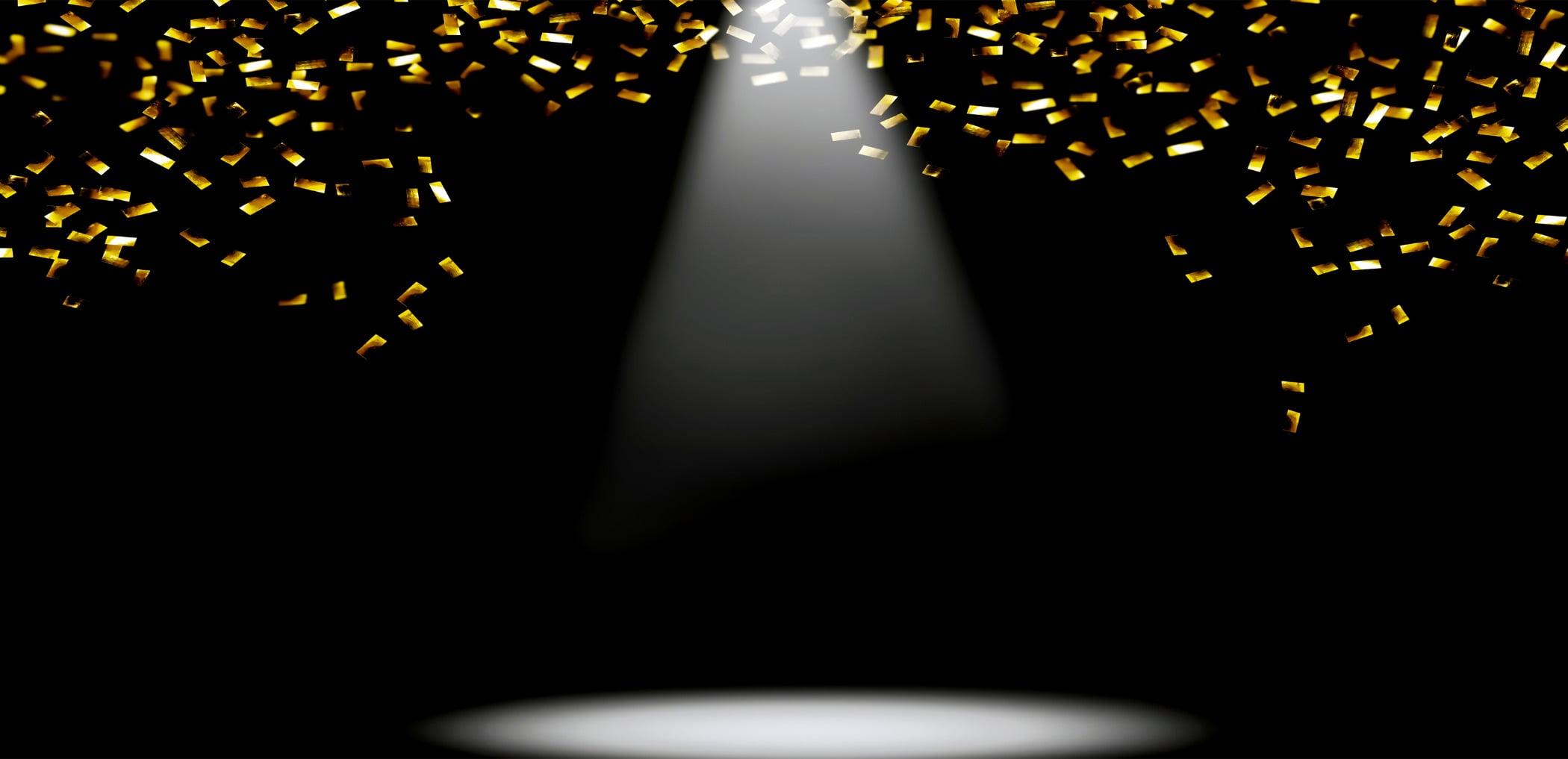 Festive shower of golden confetti