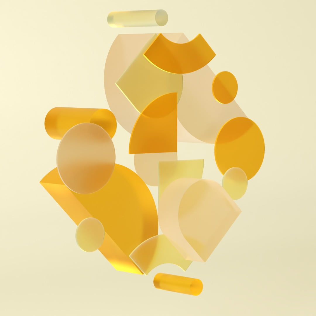 Colorful, Shapes, 3D, Yellow