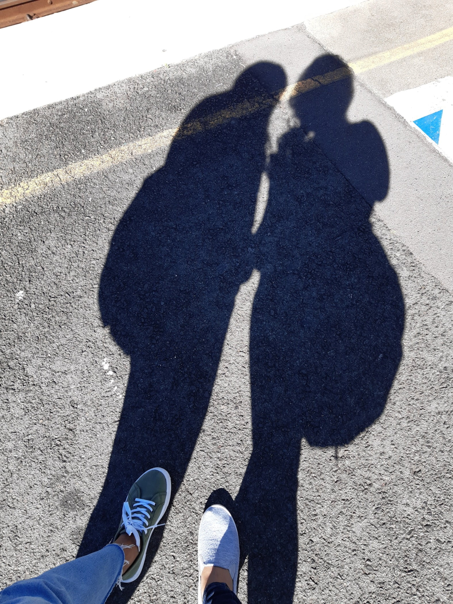 Human body, Road surface, Shoe, Photograph, Leg, White, Blue, Light, Black, Azure