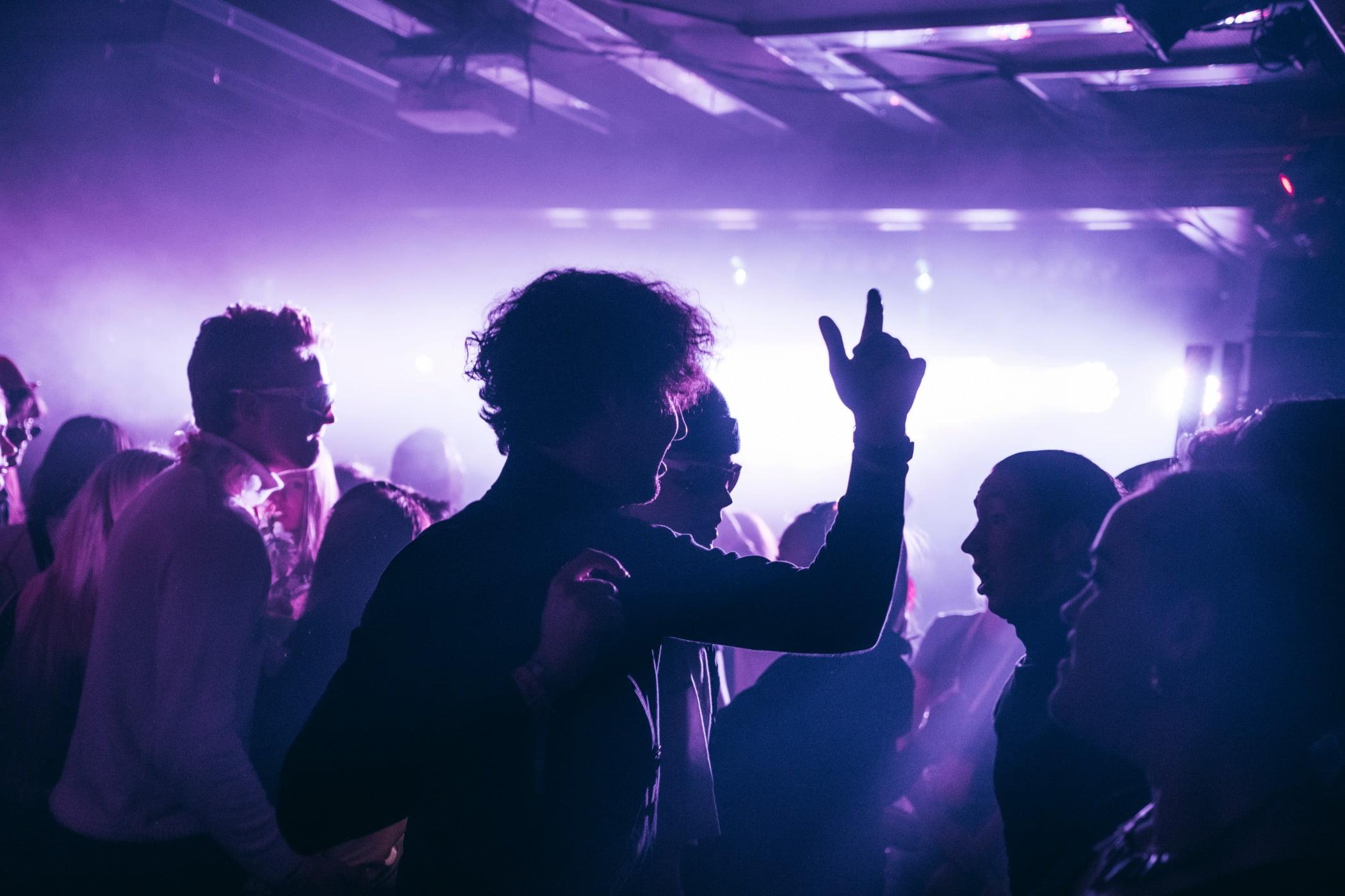 Music venue, Party, Crowd, Magenta, Violet, Purple, Event, Entertainment, Finger
