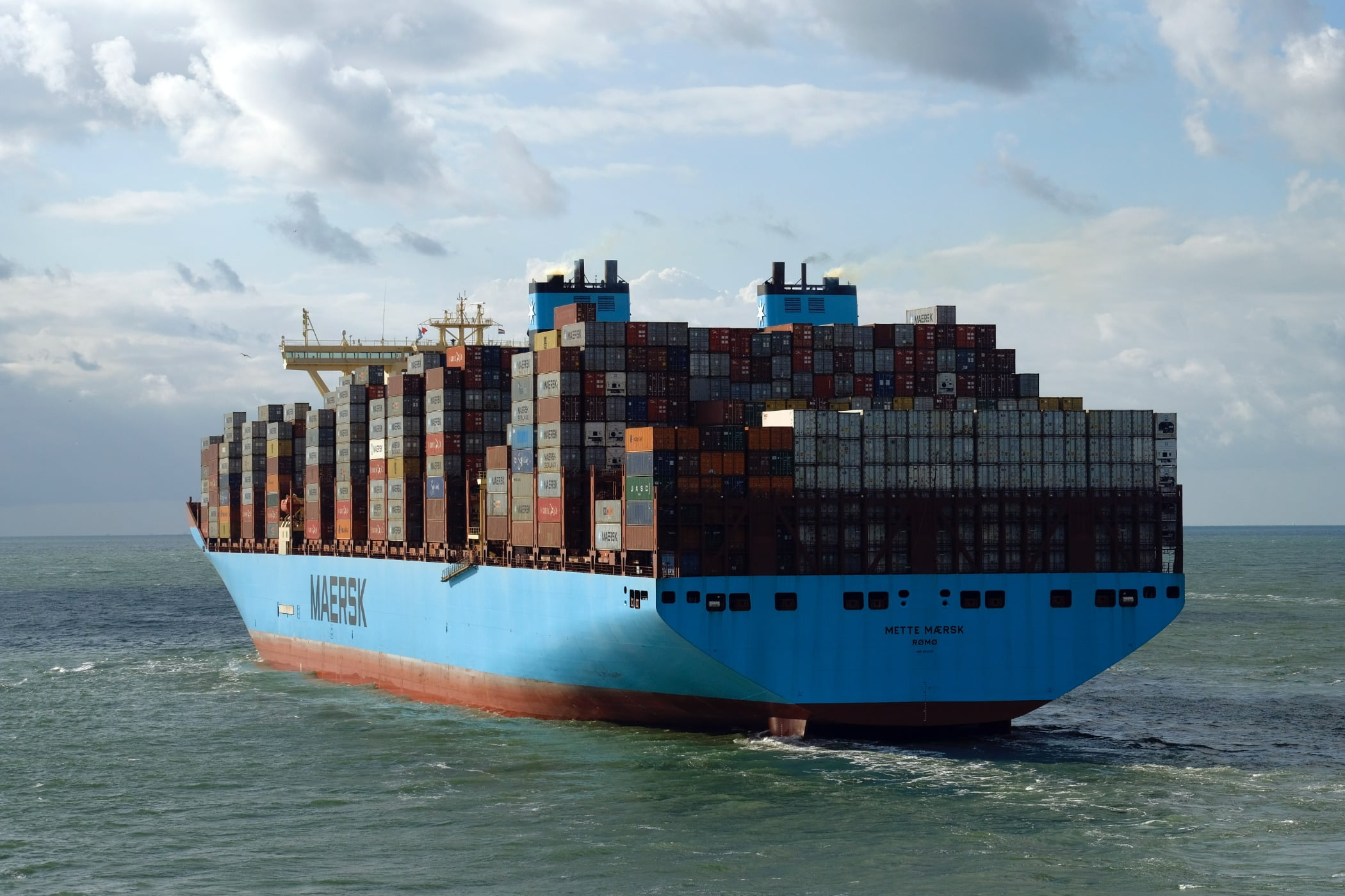 Metter Maersk while leaving the port of Rotterdam