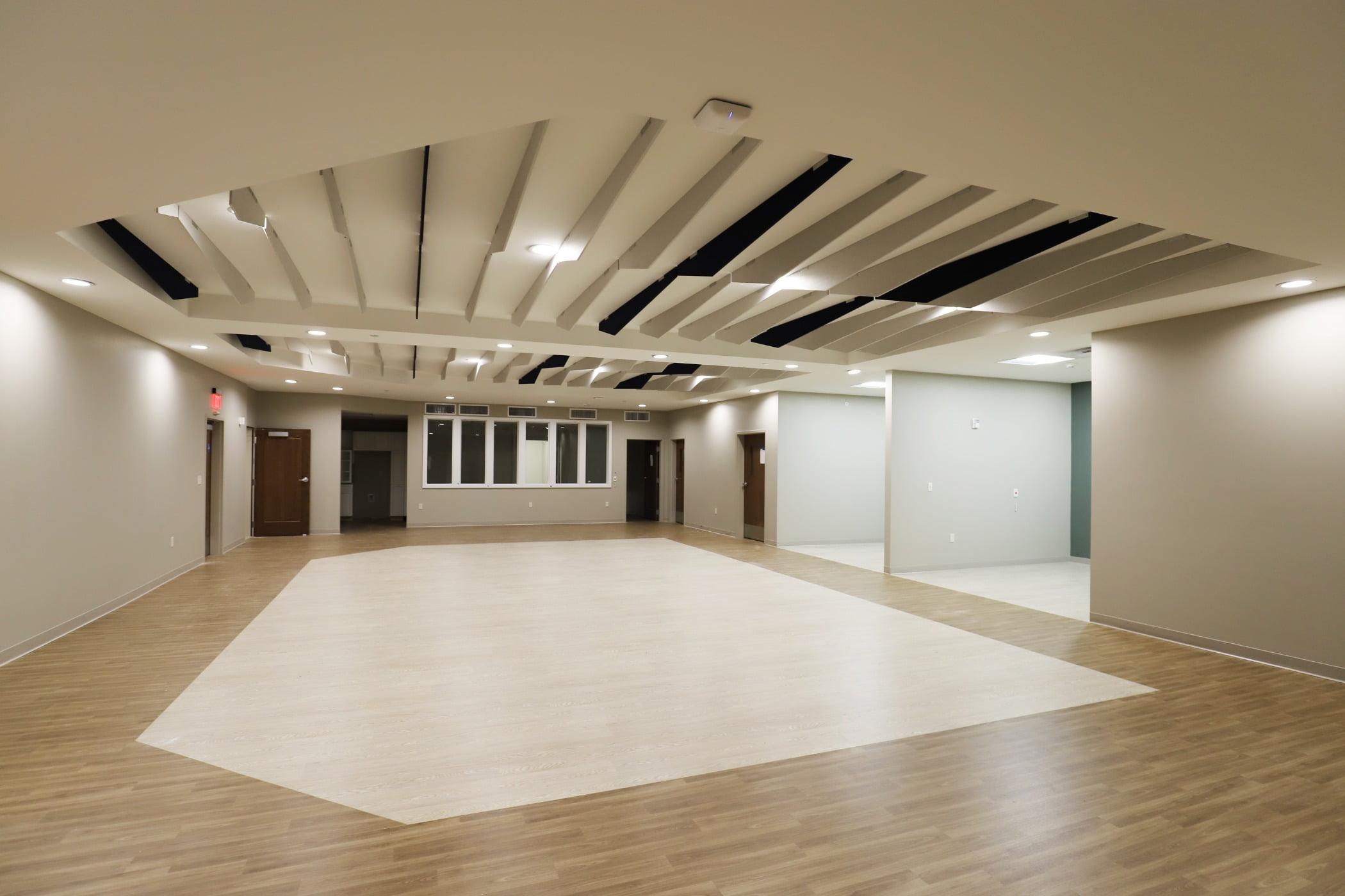 Wood stain, Laminate flooring, Building, Hall, Floor, House