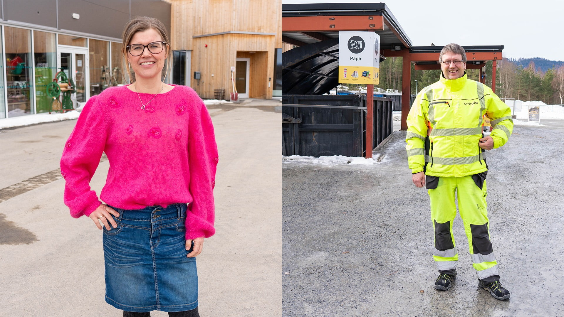 High-visibility clothing, Street fashion, Smile, Outerwear, Workwear, Building, Sleeve, Asphalt, Standing, Yellow
