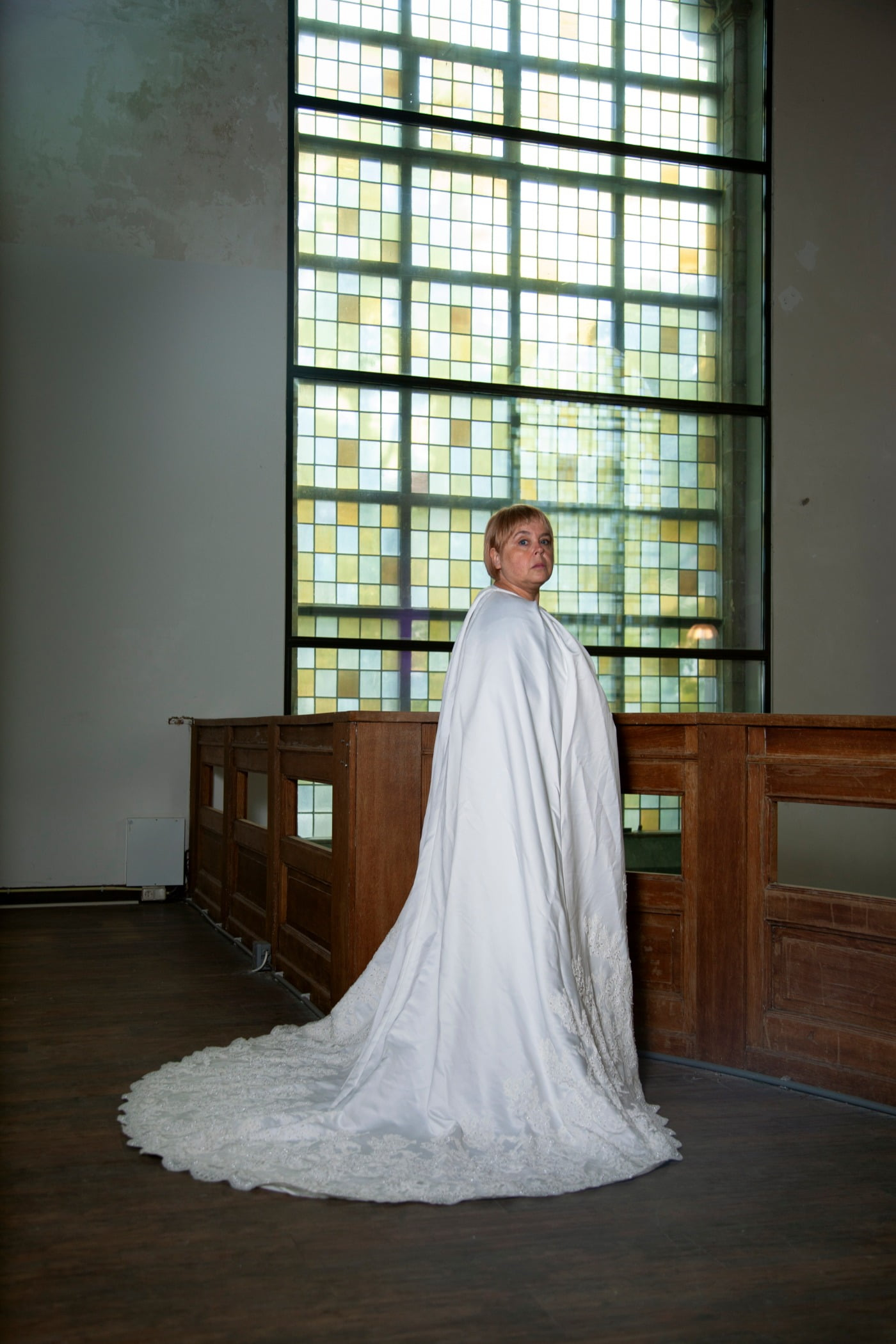 Wedding dress, Bridal clothing, Window, Wood, Plant