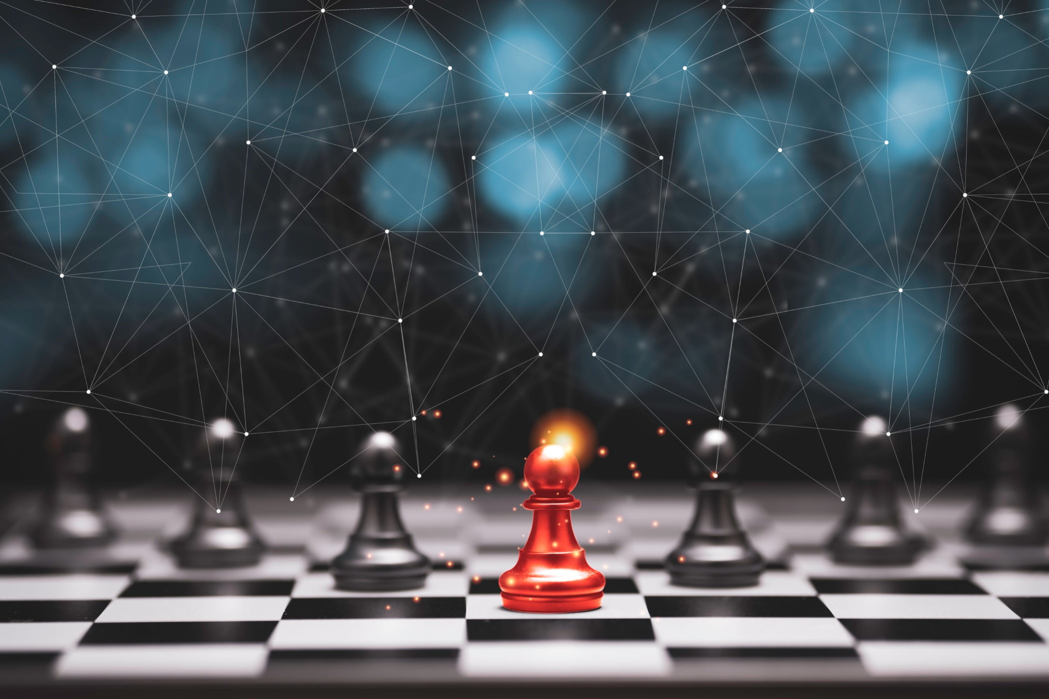 Red pawn chess stepped out of line to leading black chess and show different thinking ideas. Business technology change and disruption for new normal concept