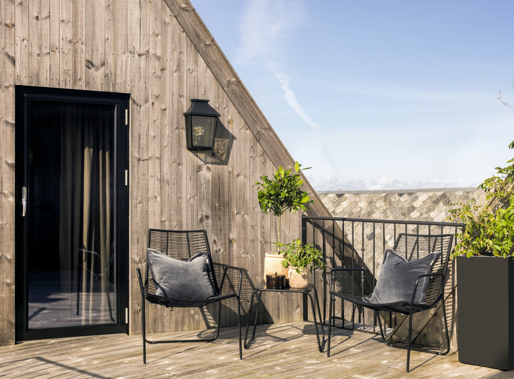Interior design, Outdoor furniture, Sky, Property, Cloud, Plant, Building, Wood, Shade