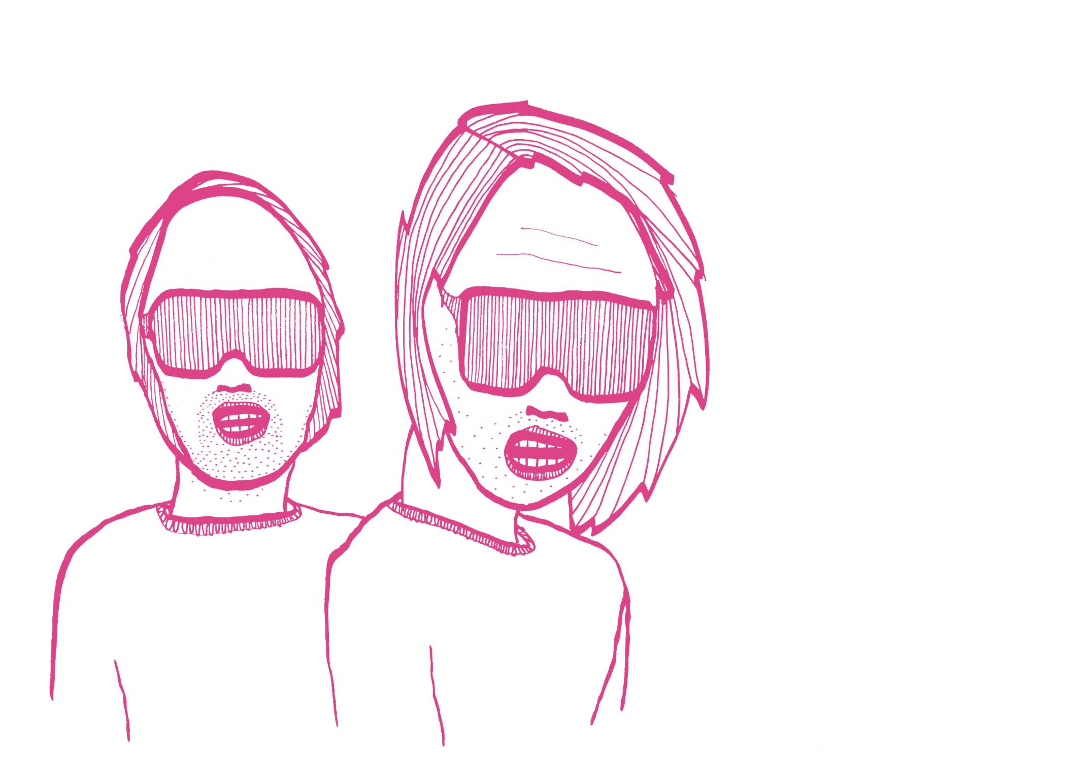 Facial expression, Drawing, Cheek, Text, Nose, Head, Pink, White, Face