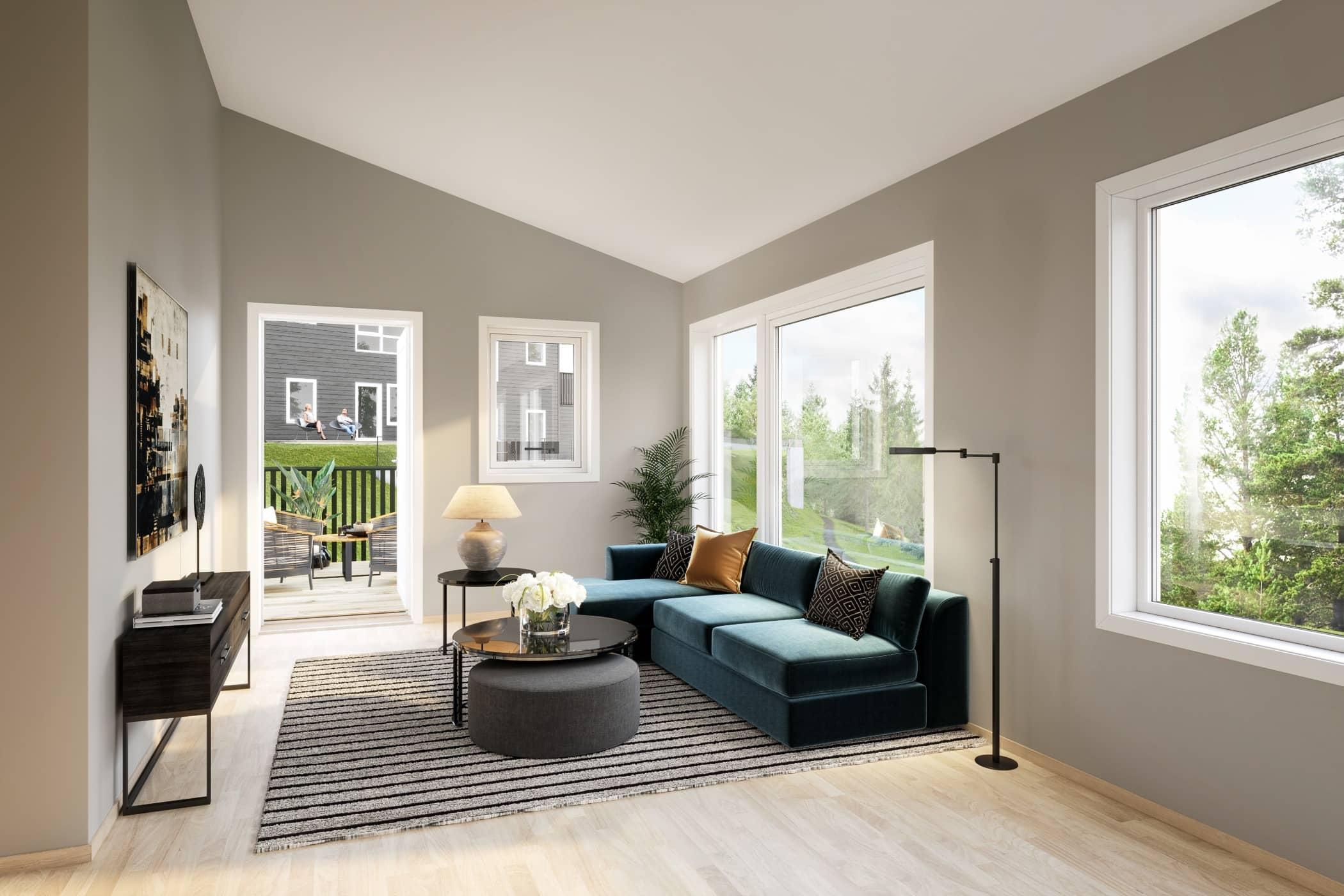 Wood flooring, Interior design, Living room, Ceiling, Floor, Green, Building, Property, Furniture