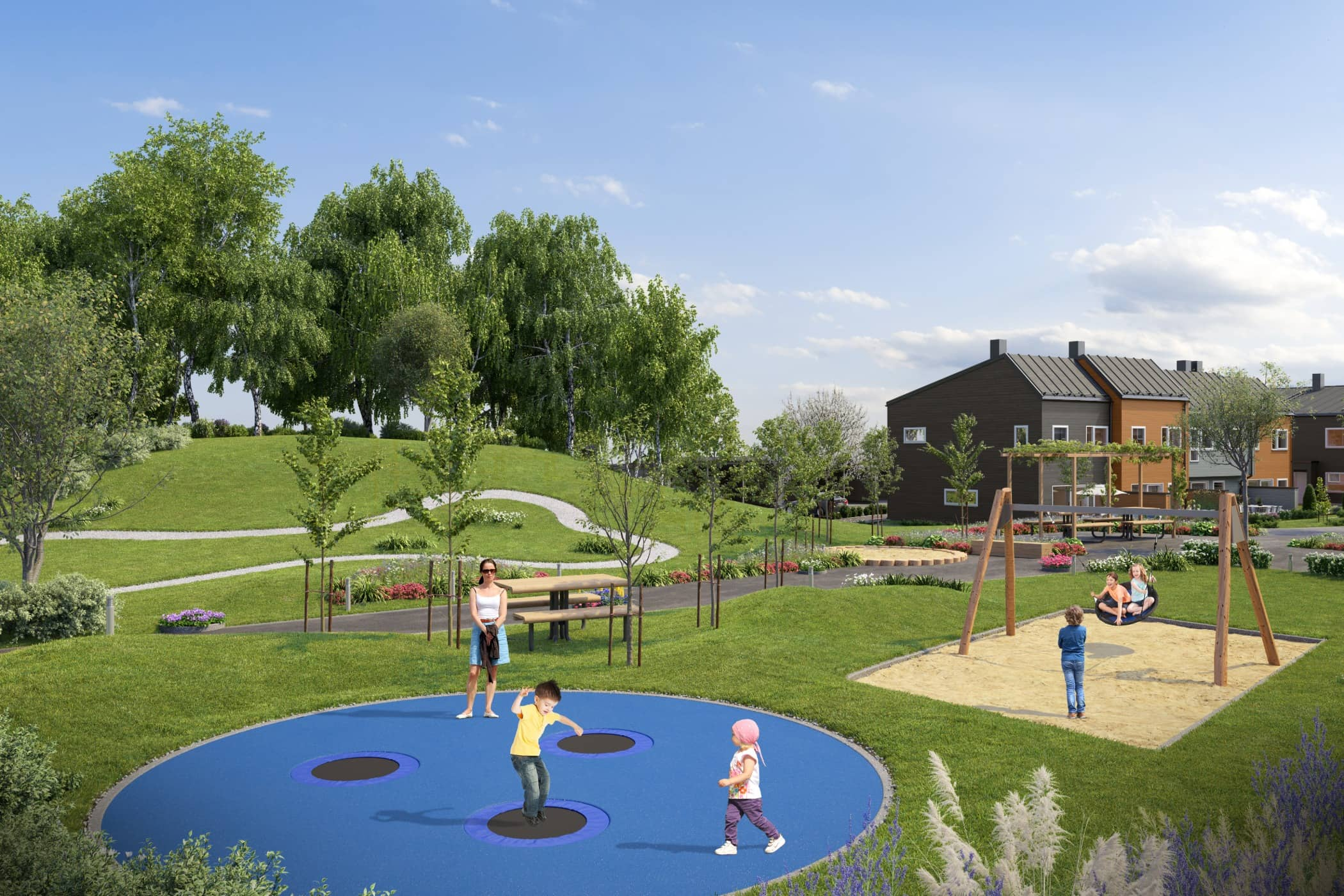 Human settlement, Residential area, Public space, Grass, Playground, Leisure, Property