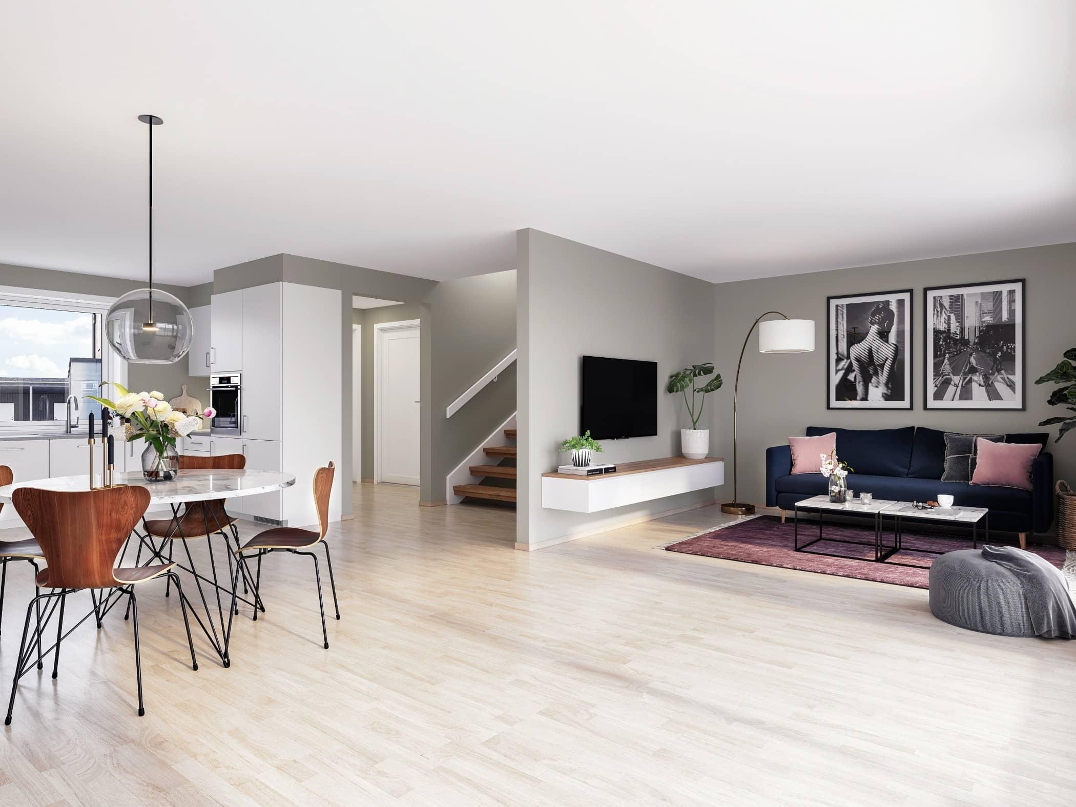 Wood flooring, Interior design, Living room, Building, Property, White, Furniture, Floor