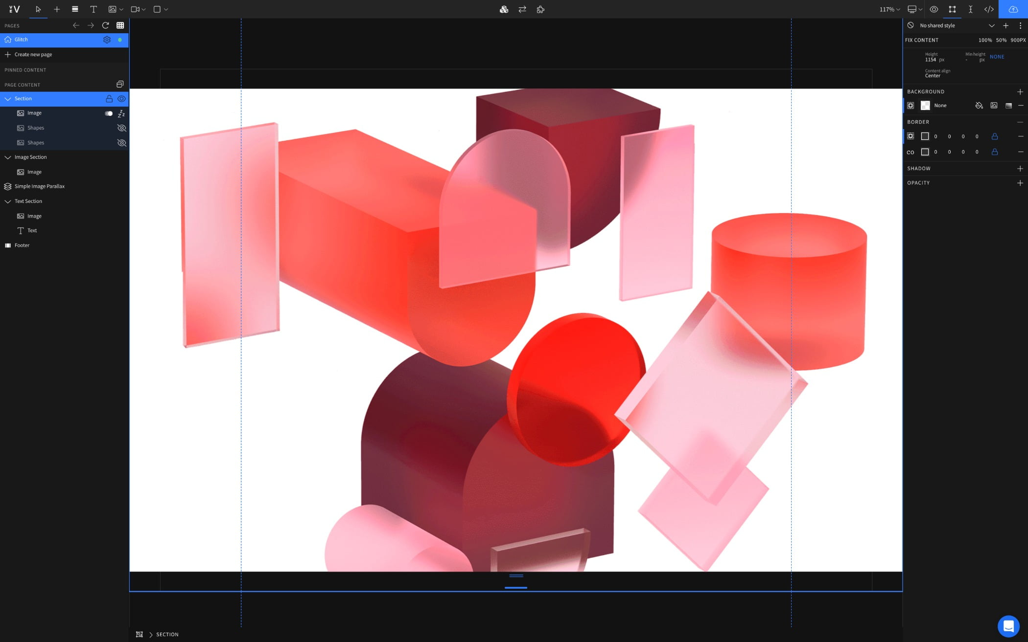 Design Editor, Red shapes in editor