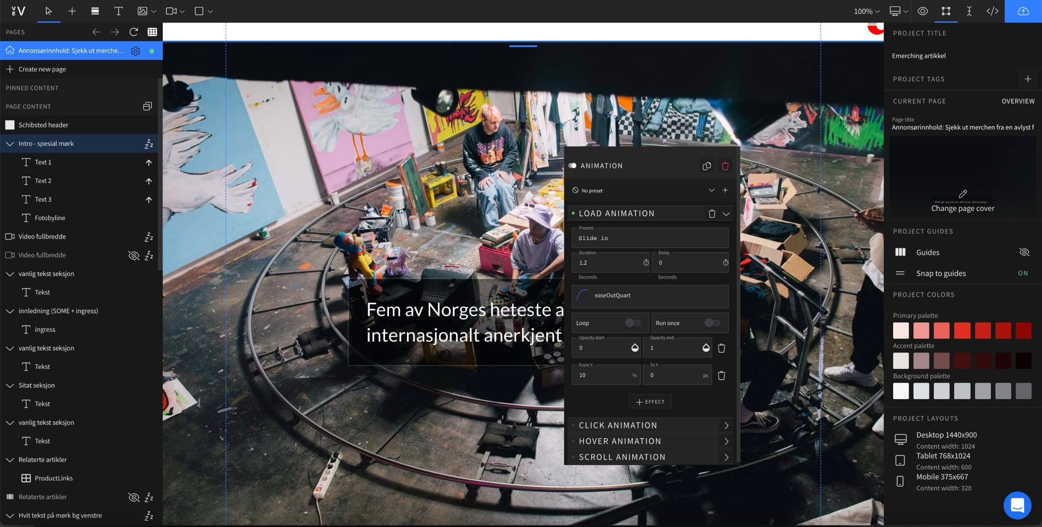 Design Editor view of large image of artist studio with scrolling text