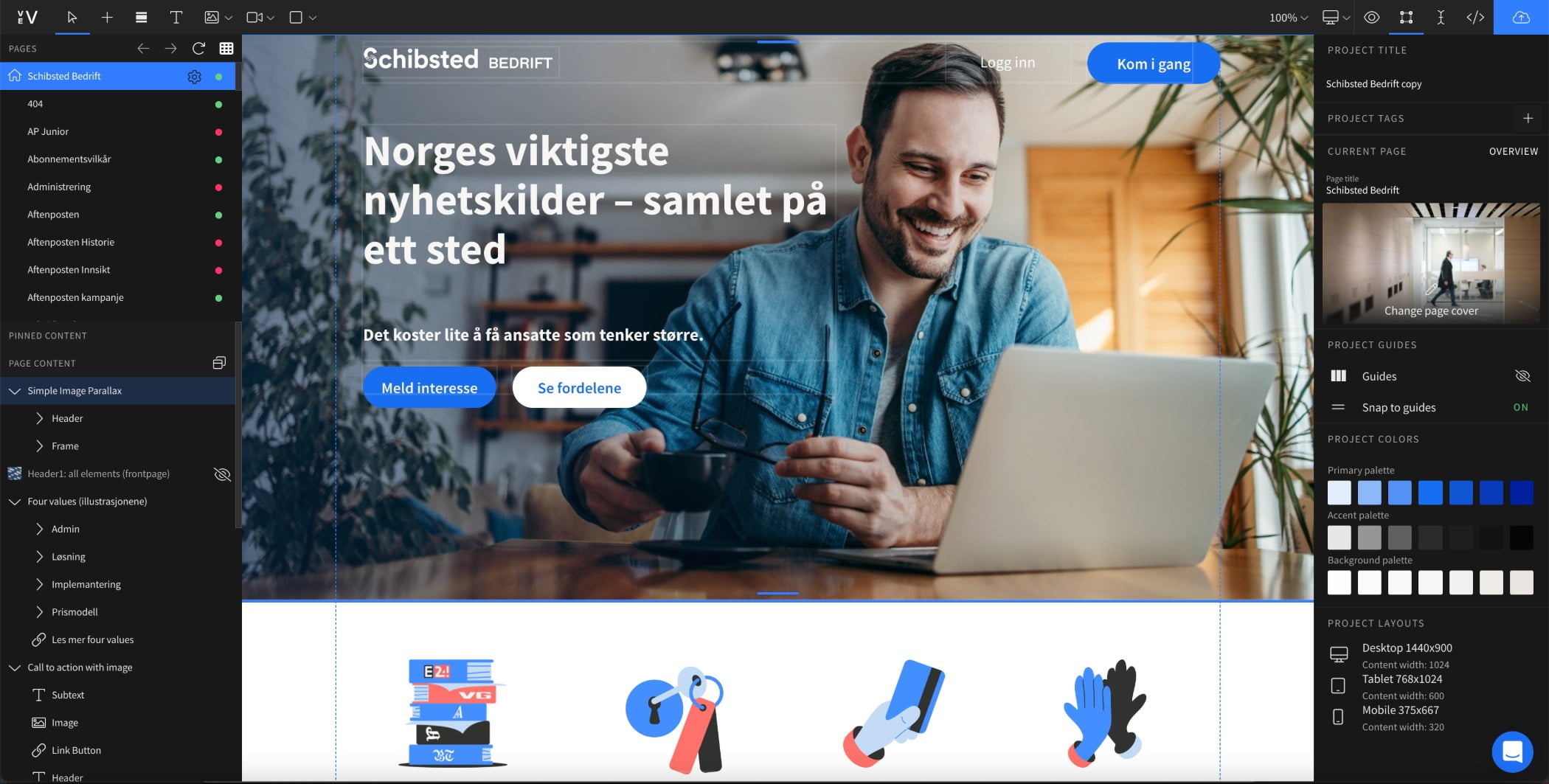 Design Editor view of Schibsted design, Business website with smiling man