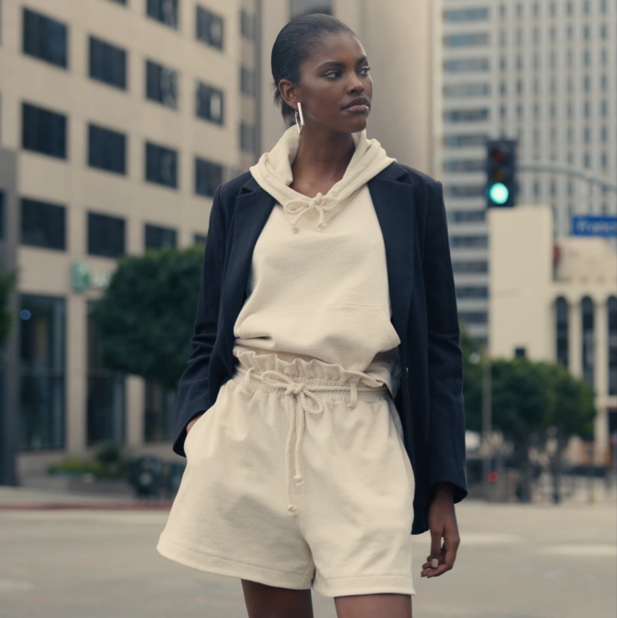 Dress shirt, Street fashion, White, Neck, Sleeve, Standing, Waist, Collar, Eyewear