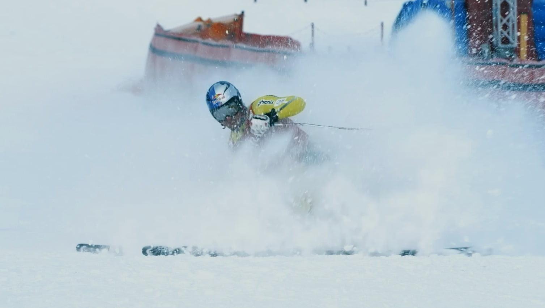 Sports equipment, Helmet, Snow, Vehicle, Slope