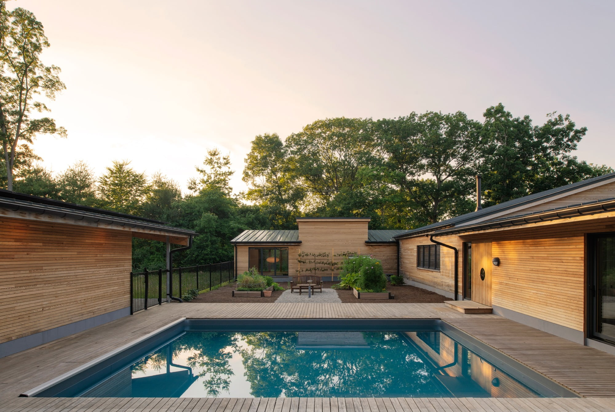 Swimming pool, Interior design, Water, Sky, Plant, Property, Building, Tree, Shade, Grass