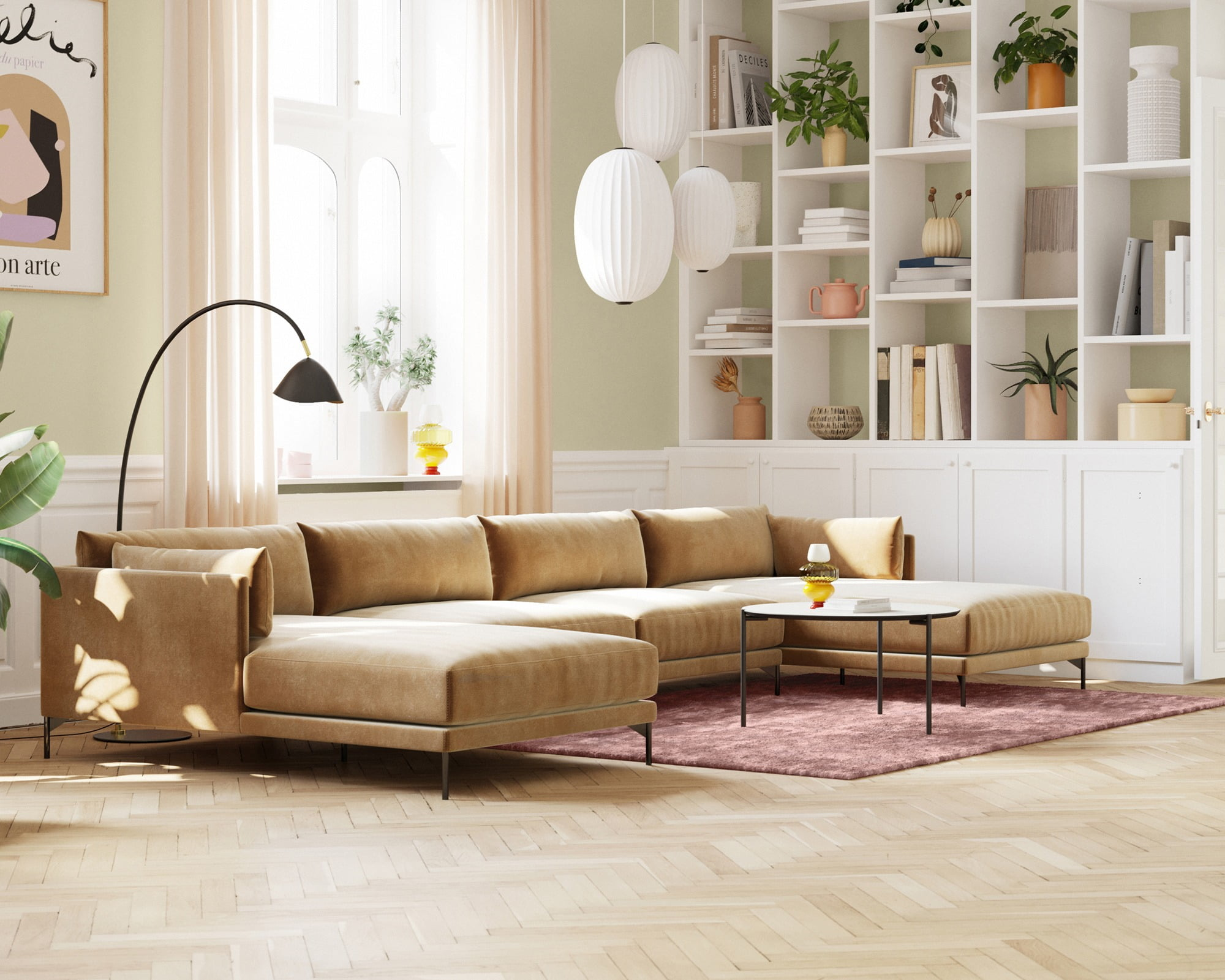 Living room, Interior design, Couch, White, Wall, Home, Flooring, Green, Floor