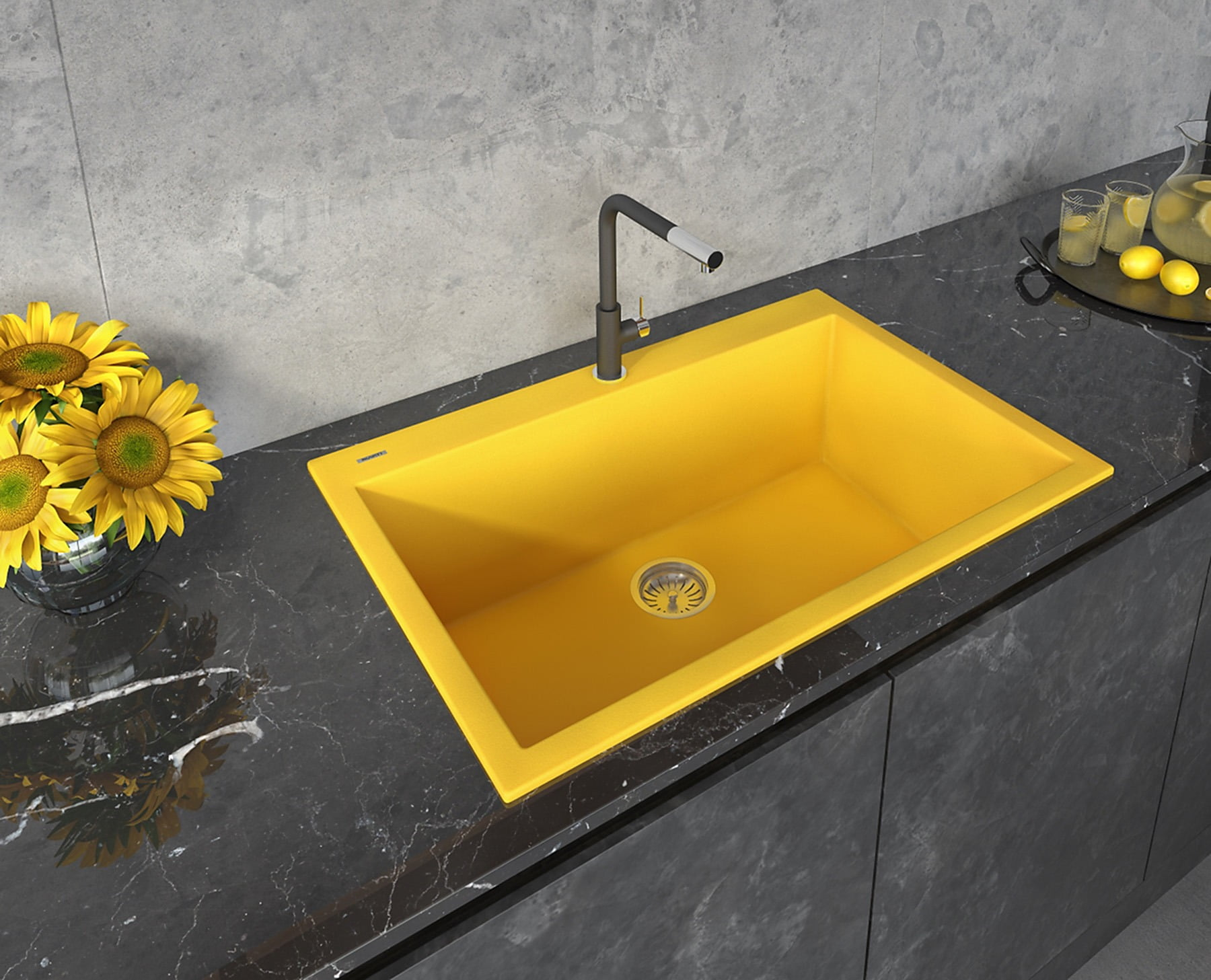Bathroom sink, Plumbing fixture, Tile, Petal, Tap, Sunflower, Property, Yellow