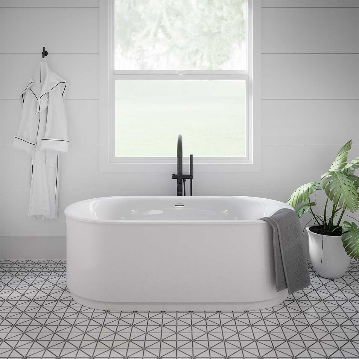 Plumbing fixture, Plant, Tap, Property, Flowerpot, White, Product, Houseplant, Bathroom, Black