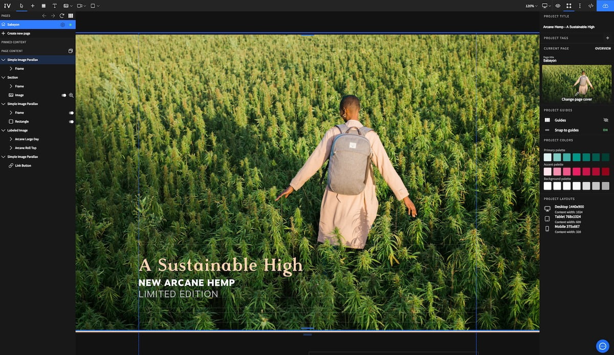Design Editor view of design with Osprey backpacks, Woman in Hemp field