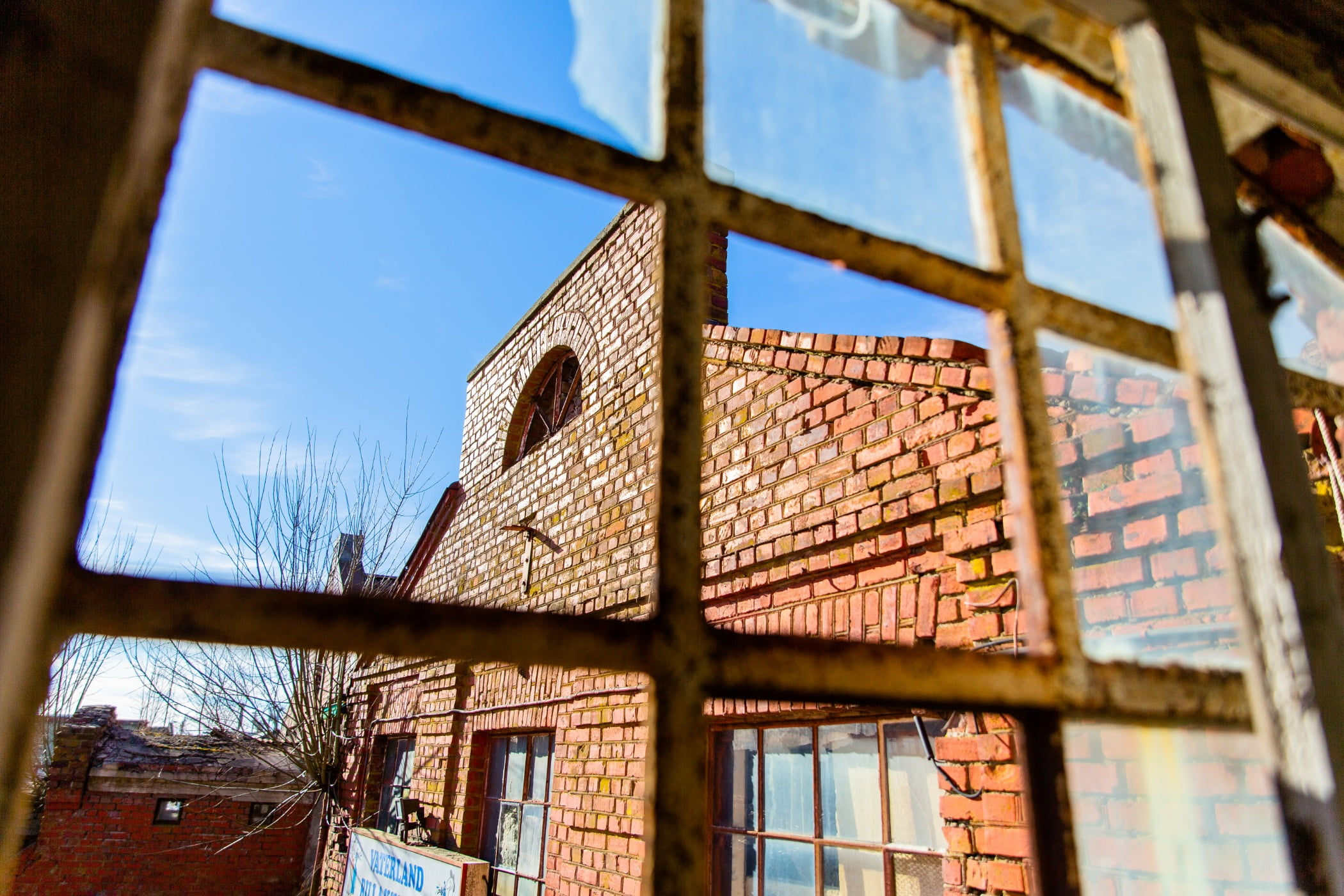 Sky, Daytime, Window, Fixture, Wood, Brickwork, Lighting, Sunlight, Brick, Tree