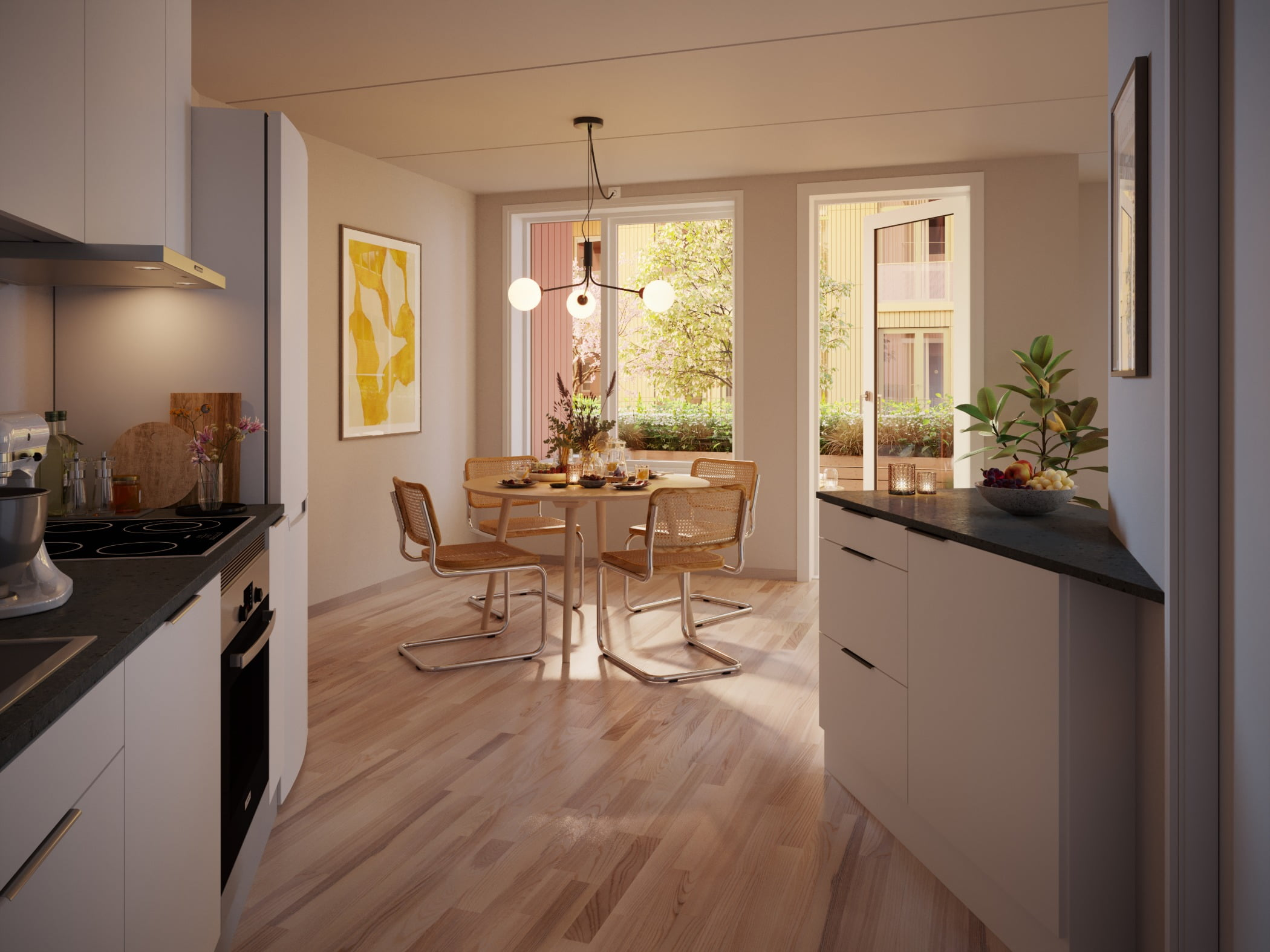 Cabinetry, Property, Furniture, Plant, Table, Countertop, Window, Houseplant, Wood, Flowerpot