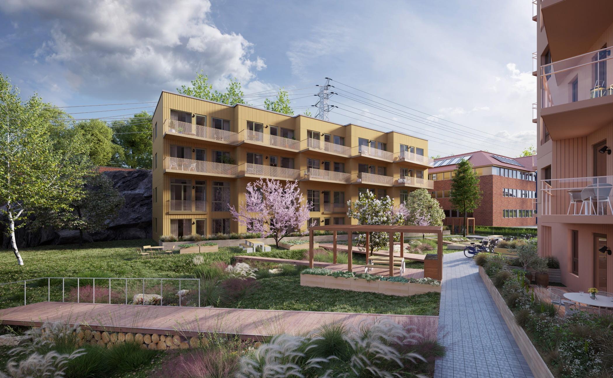 Urban design, Cloud, Sky, Plant, Building, Window, Condominium, Neighbourhood, Tree