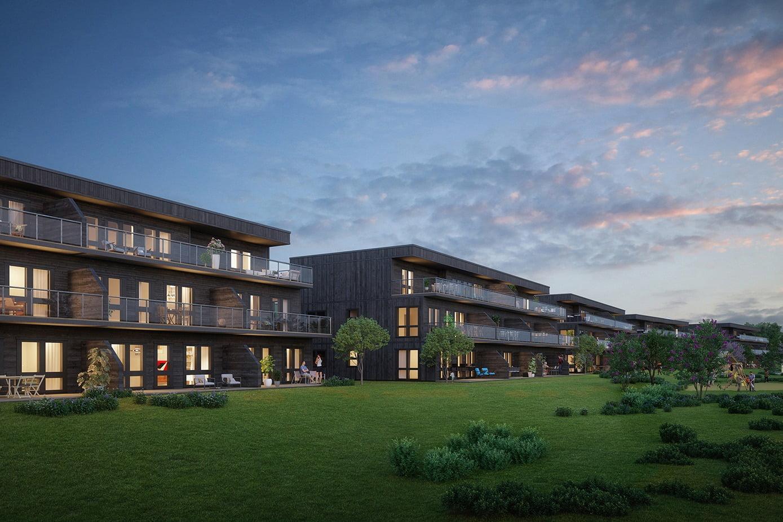 Urban design, Cloud, Sky, Plant, Building, Window, Sunlight, Tree, Condominium, Grass