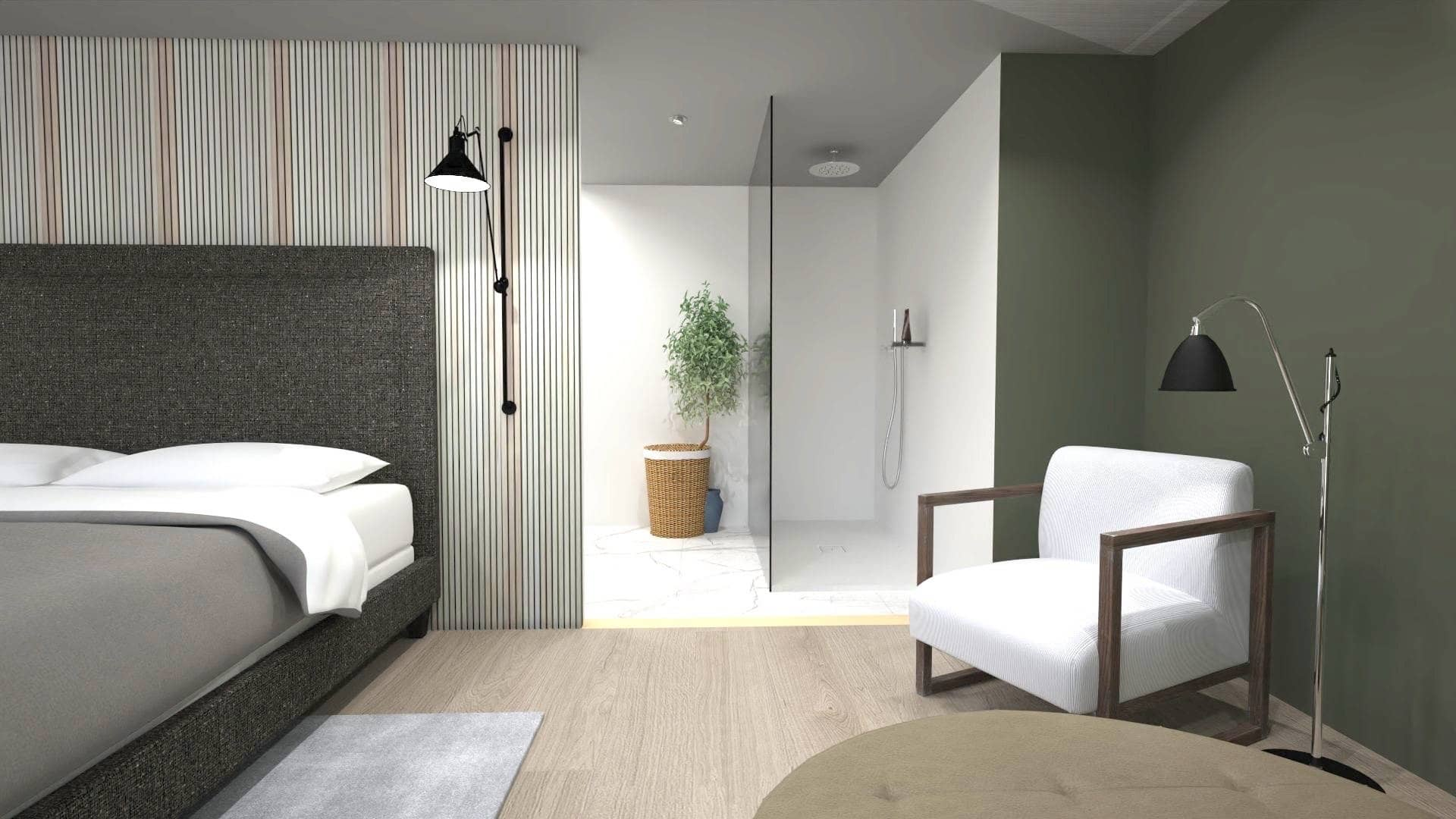 Interior design, Bed, Tile, Wall, Building, Floor, Bedroom, Property, Furniture, Room