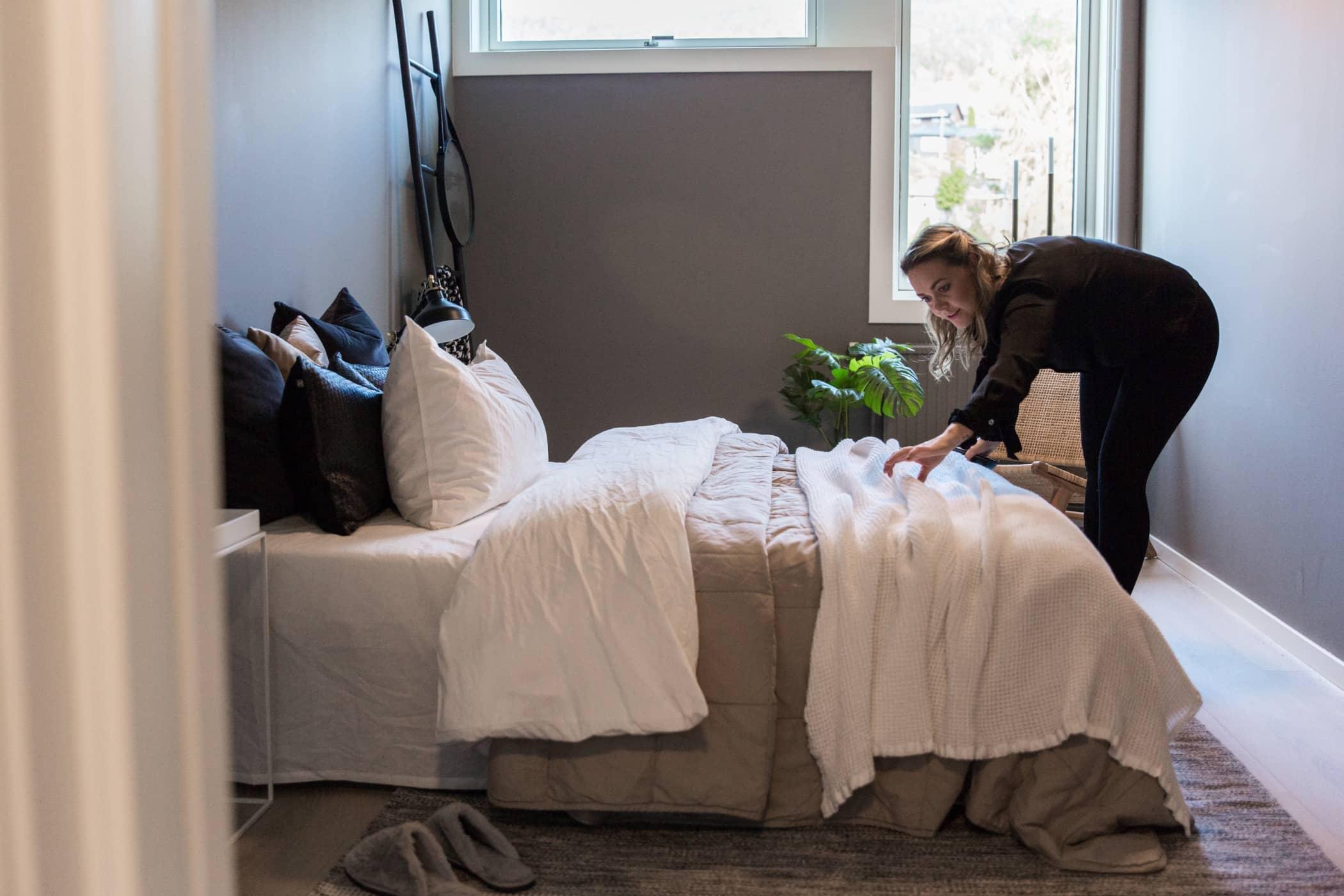 Bed frame, Bedding, Furniture, Room, Bedroom