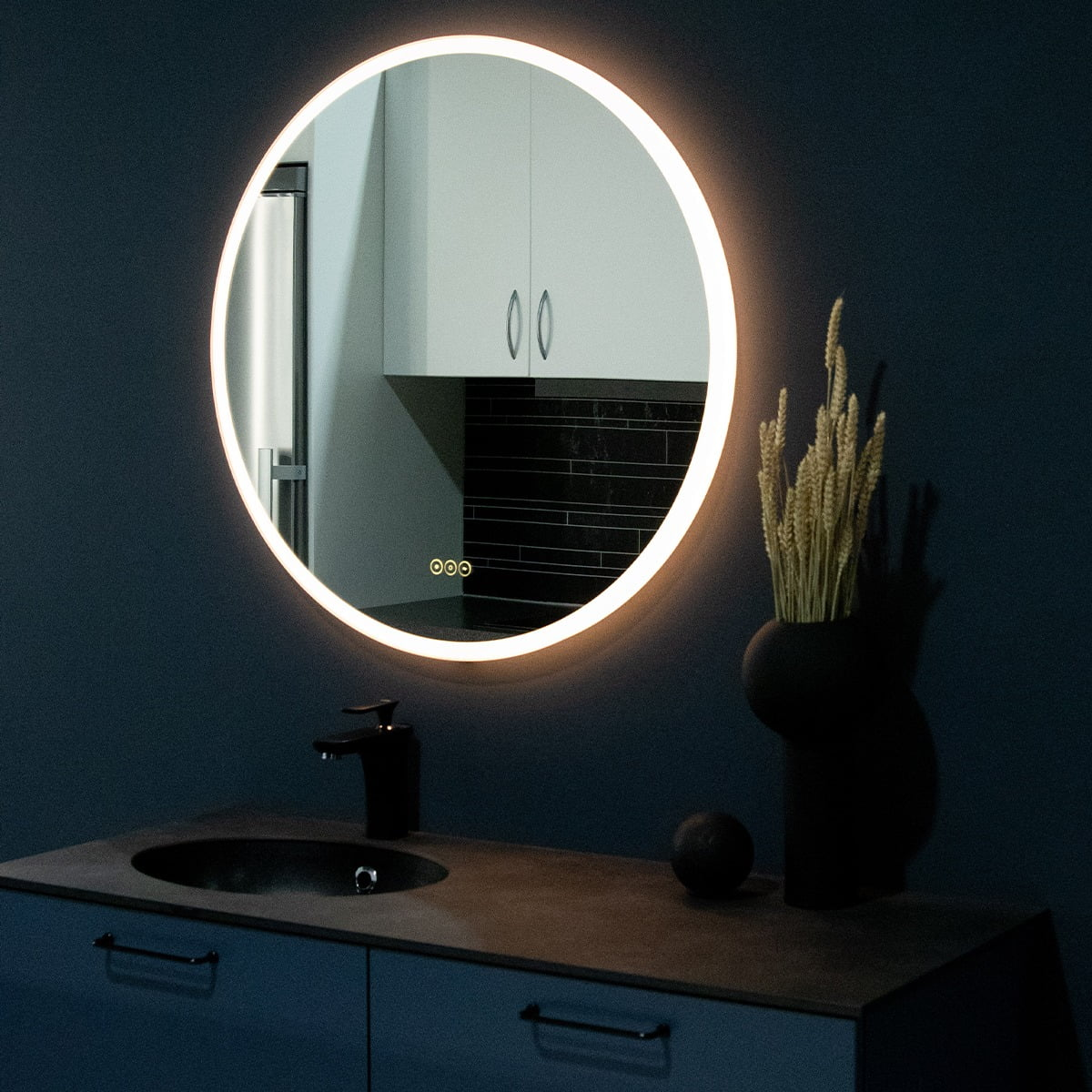 Interior design, Mirror, Plant, Cabinetry, Table, Black, Houseplant, Lighting, Wood, Countertop